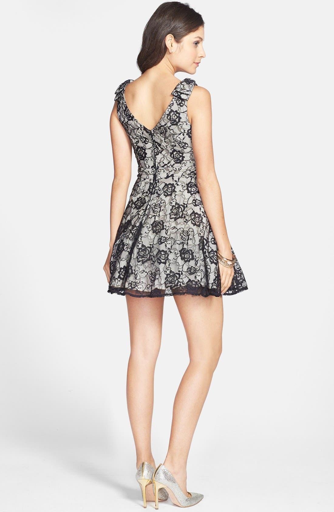 Alternate Image 2  - Way-In Lace Skater Dress (Juniors)