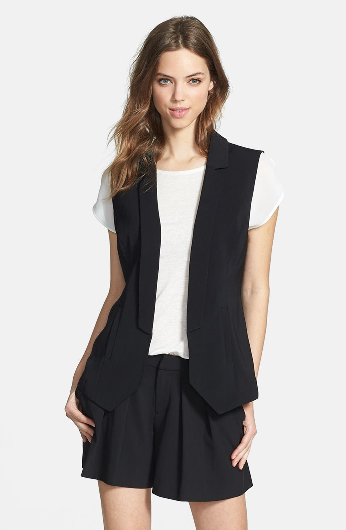 Alternate Image 1 Selected - Halogen® Twill Vest (Regular & Petite)