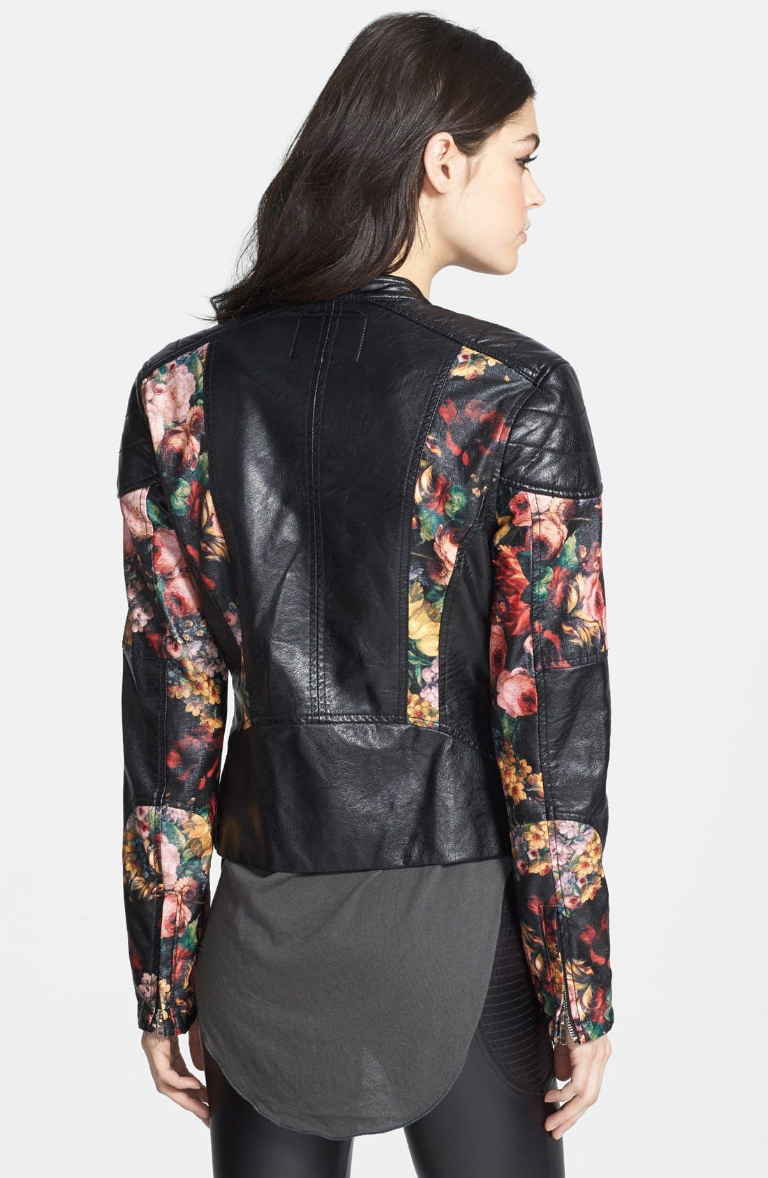 Alternate Image 2  - BLANKNYC Floral Faux Leather Jacket