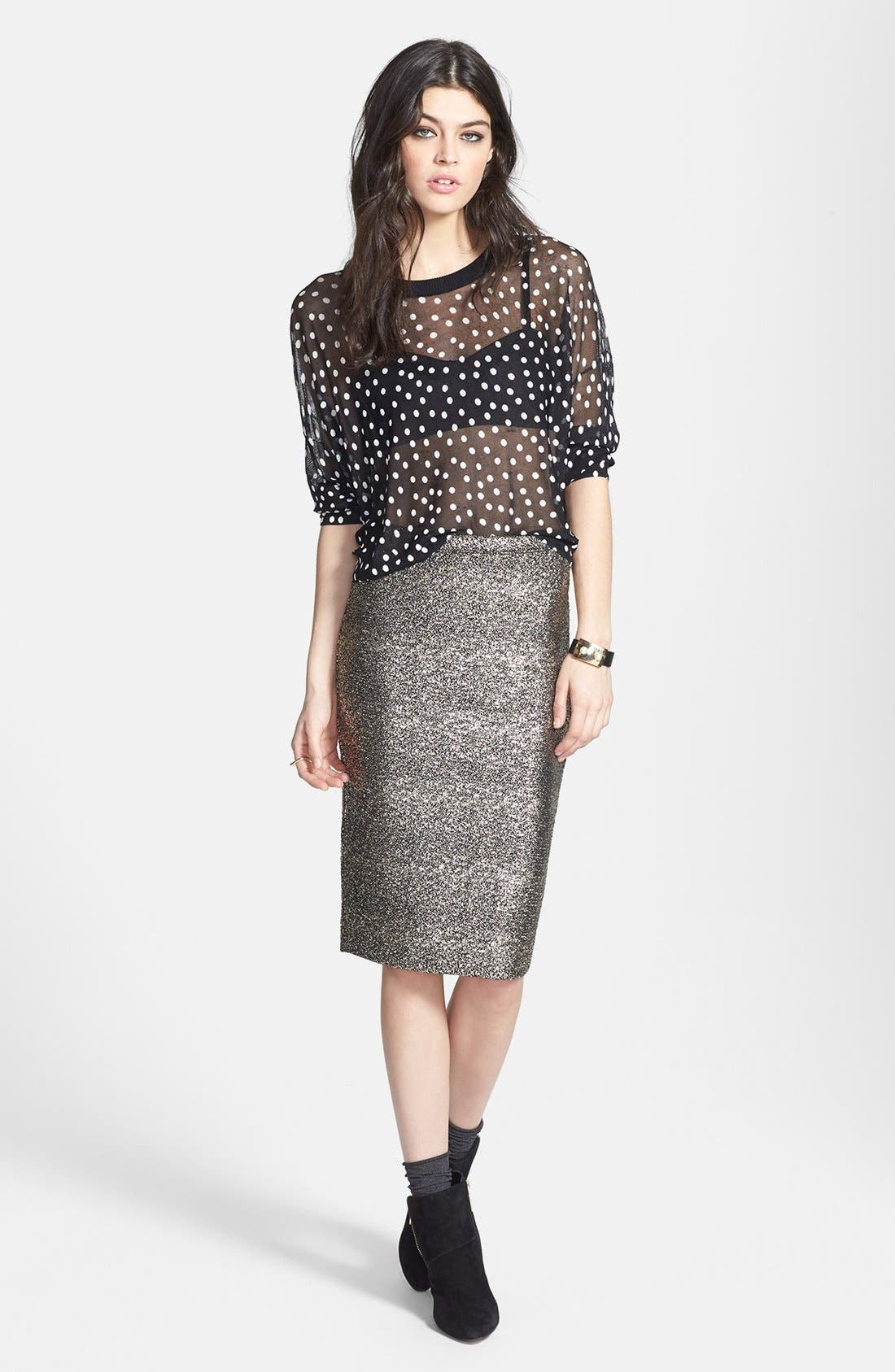 Alternate Image 4  - June & Hudson Metallic Pencil Skirt