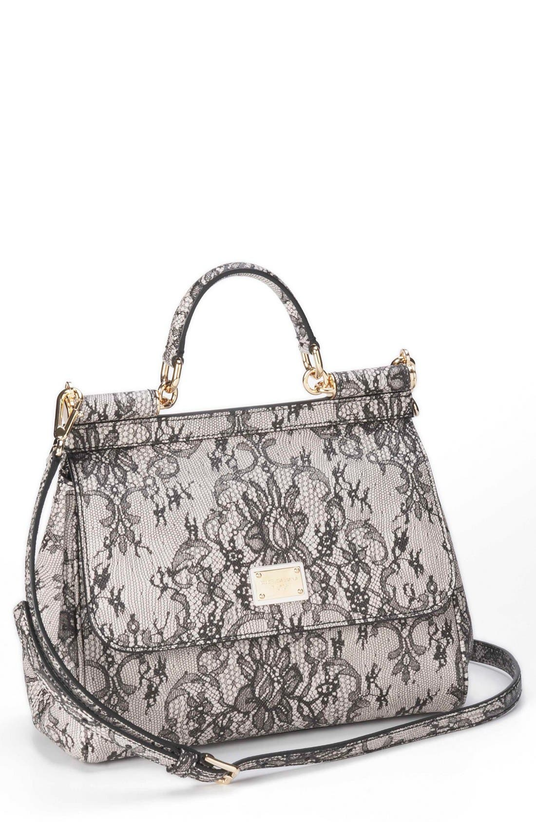 Main Image - Dolce&Gabbana 'Miss Sicily - Printed Lace' Top Handle Leather Satchel, Small