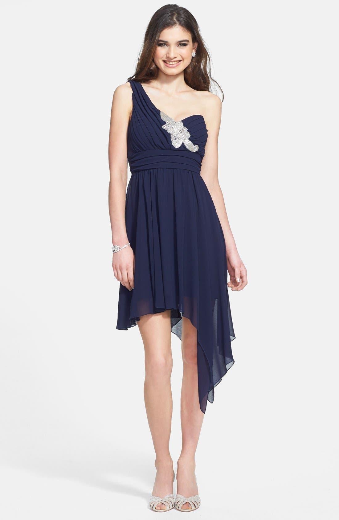 Alternate Image 1 Selected - Way-In Appliqué One-Shoulder Asymmetric Dress (Juniors)