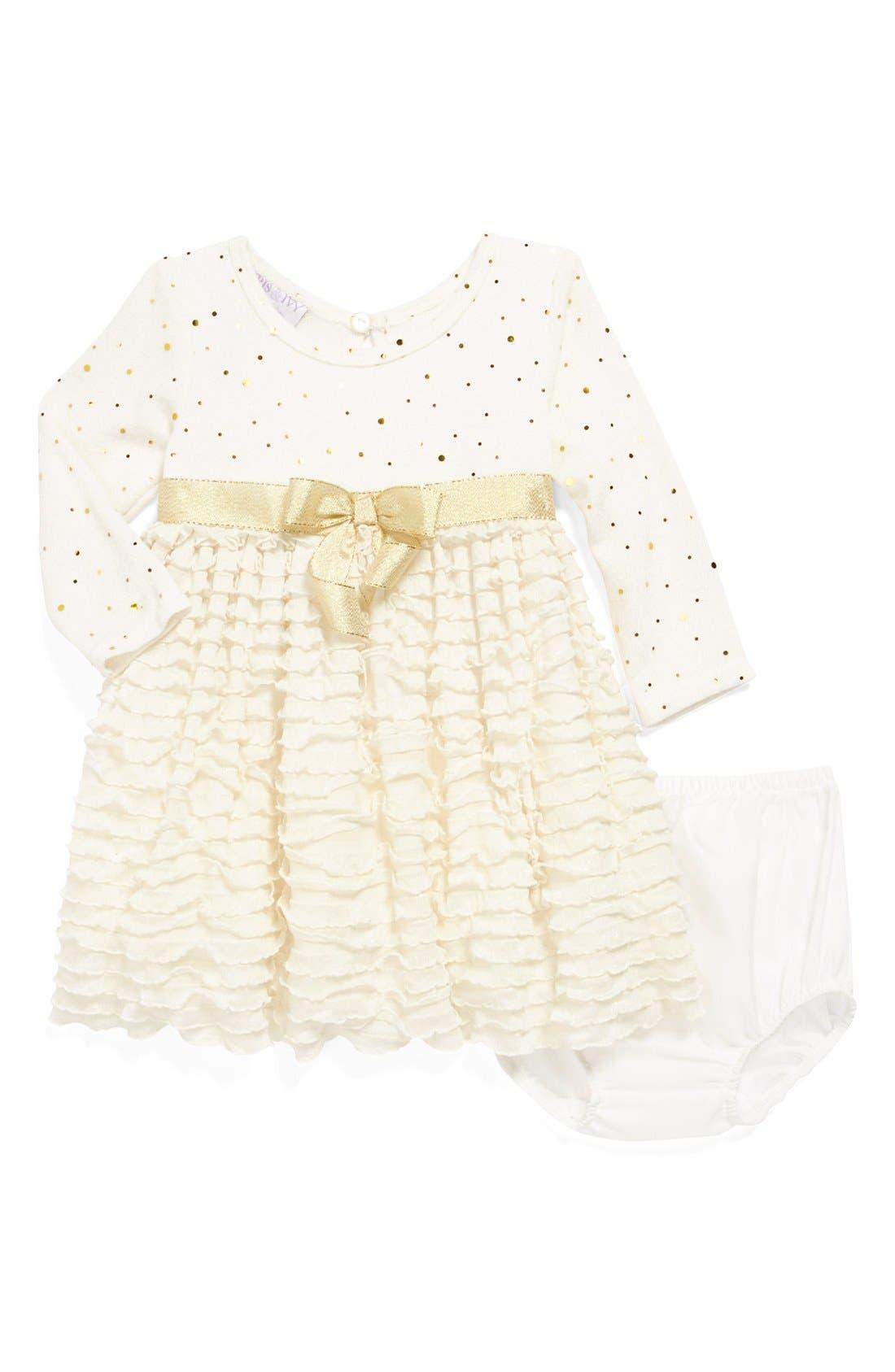 Main Image - Iris & Ivy Glitter Knit Ruffle Skirt Dress (Baby Girls)
