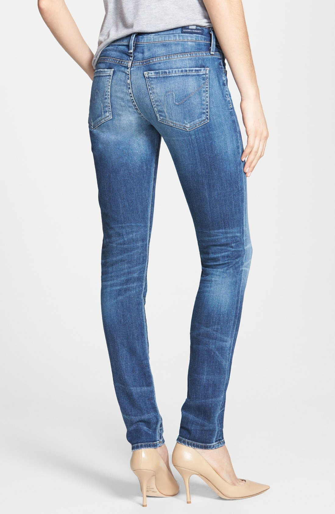 Whiskered Skinny Jeans,                             Alternate thumbnail 2, color,                             Weekender