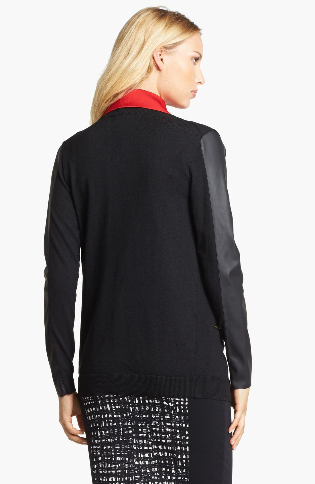 Alternate Image 2  - MICHAEL Michael Kors Faux Leather Sleeve V-Neck Cardigan (Petite)