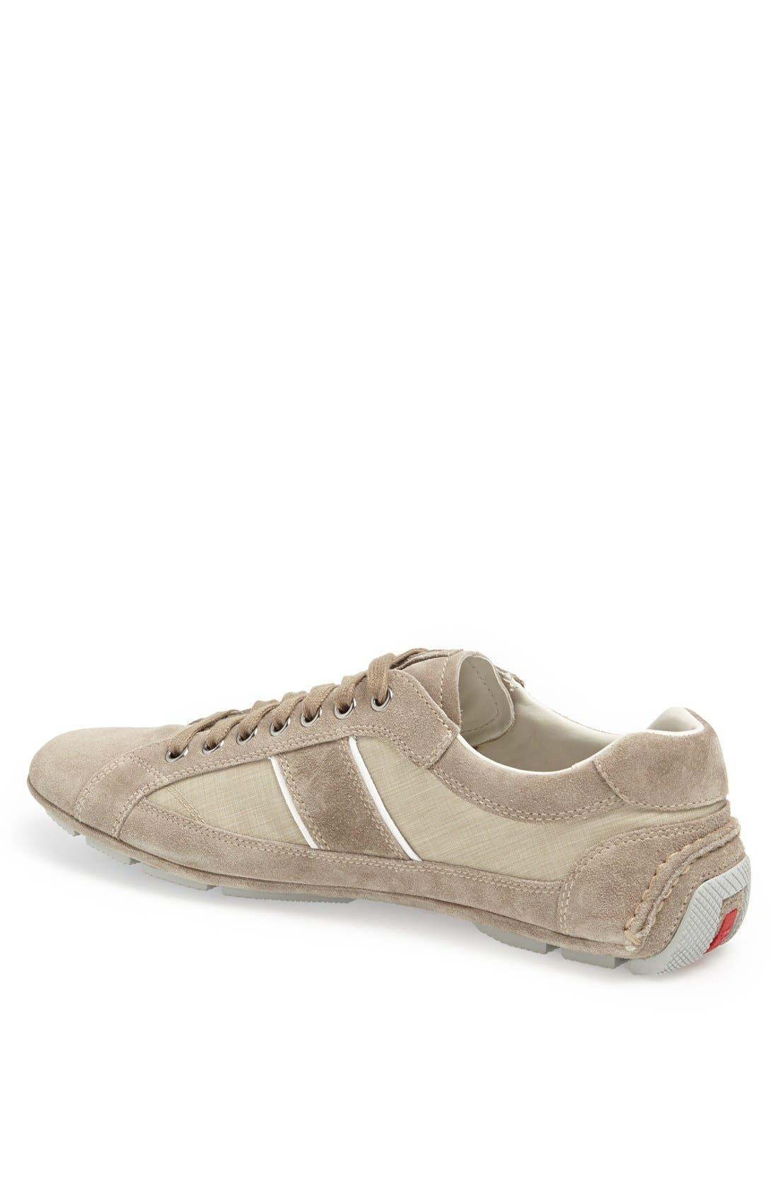 Alternate Image 2  - Prada Low Profile Suede and Nylon Sneaker
