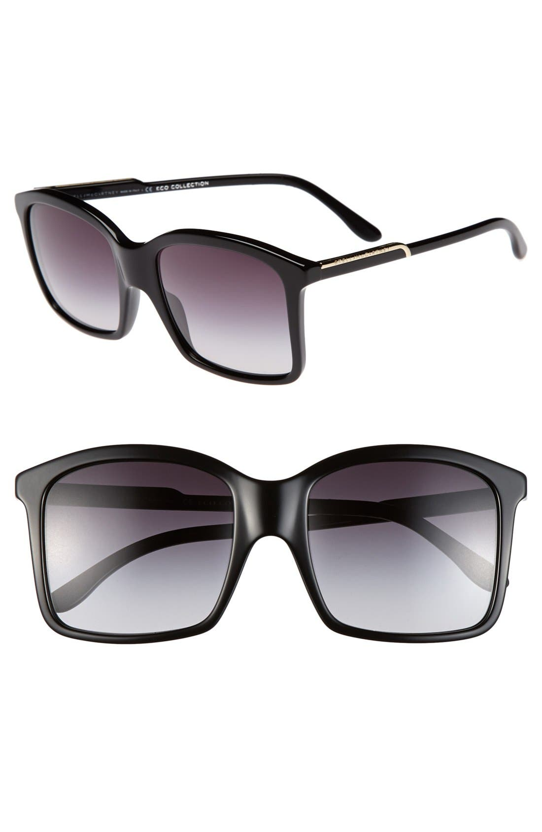54mm Oversized Sunglasses,                         Main,                         color, Black