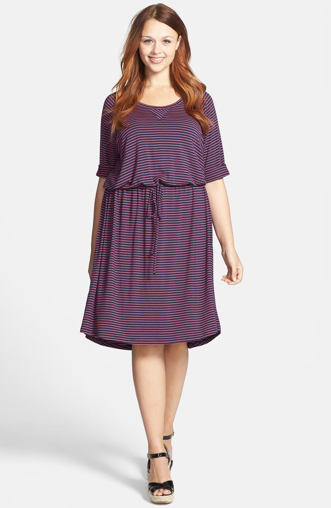 Main Image - Caslon® Three Quarter Sleeve Knit Dress (Plus Size)