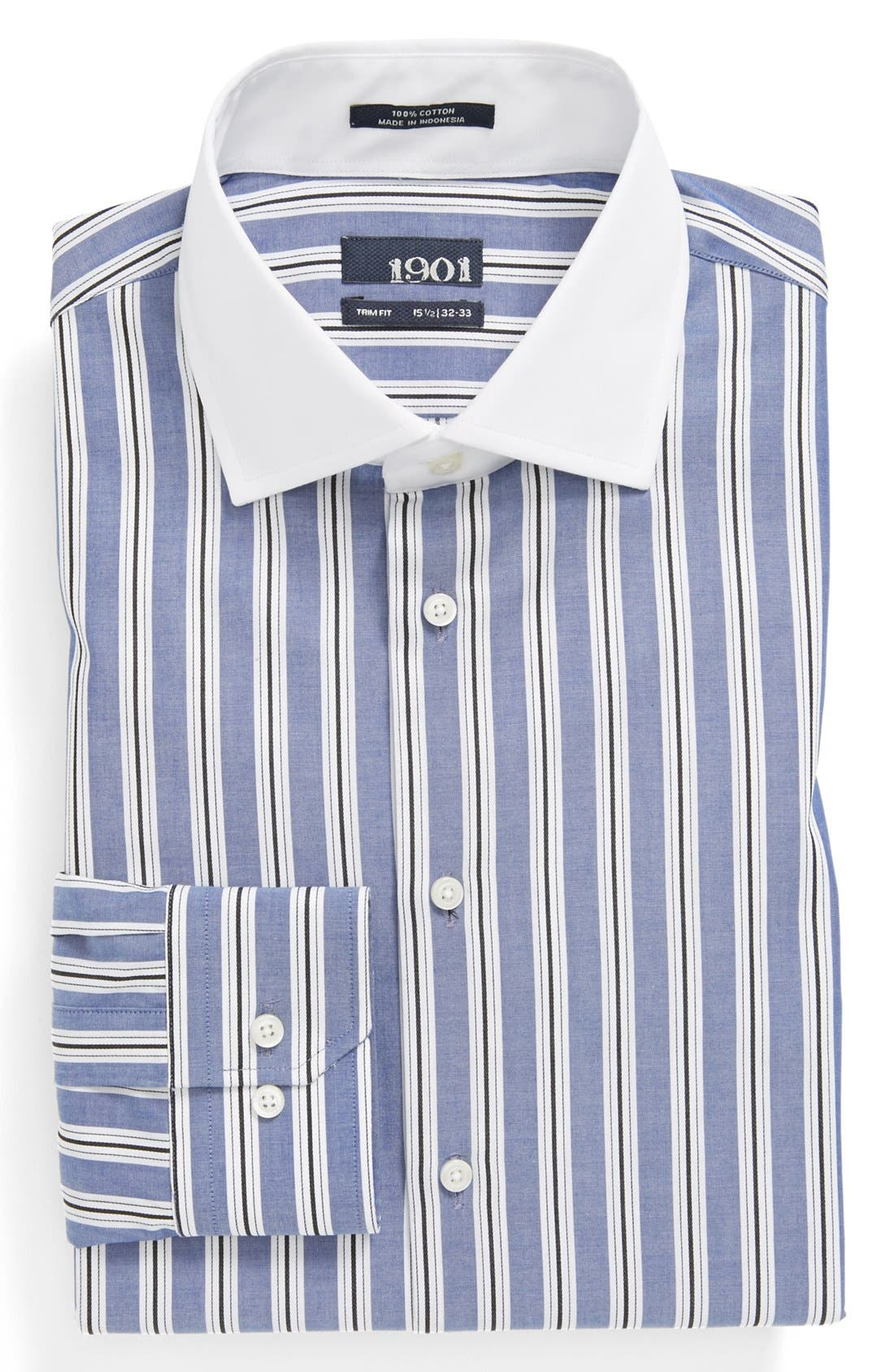 Main Image - 1901 Trim Fit Stripe Dress Shirt