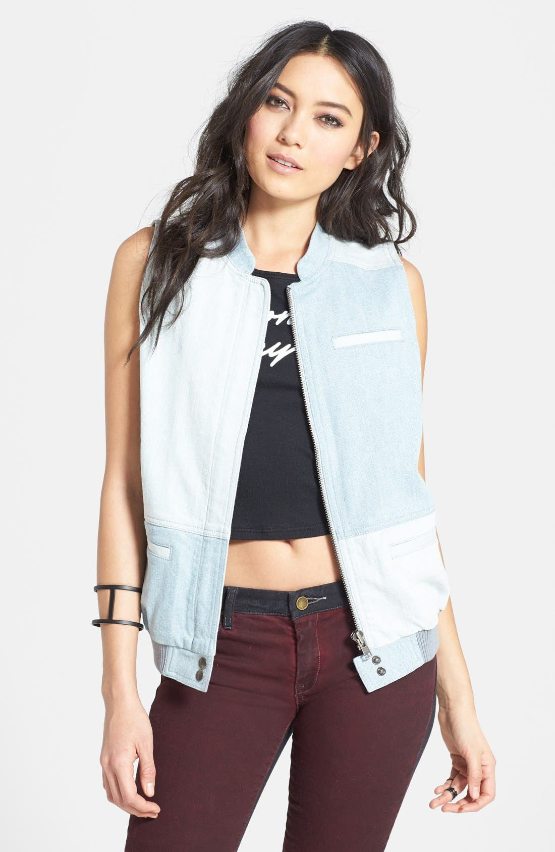 Main Image - Leith Patchwork Denim Vest