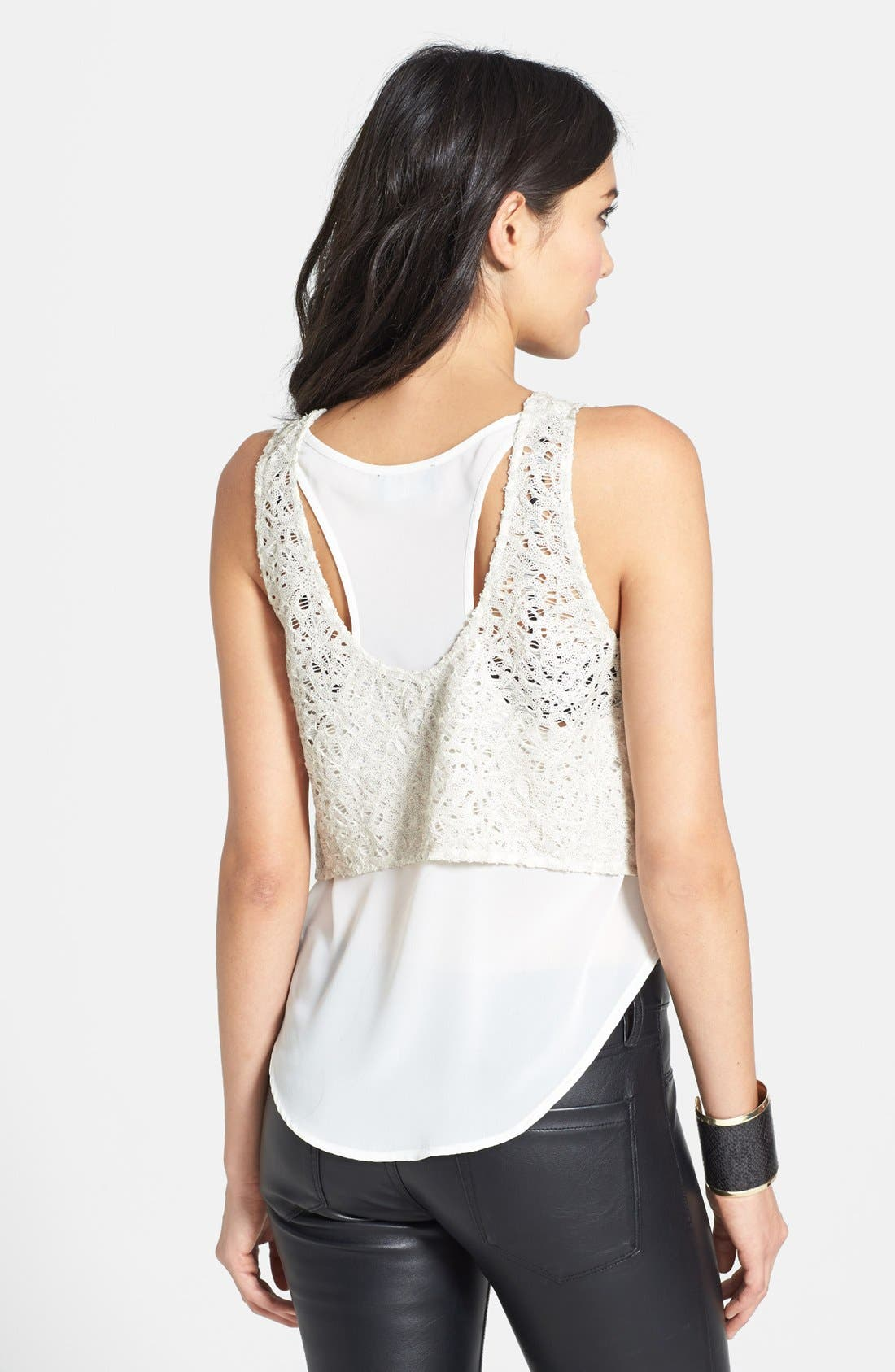 Alternate Image 2  - ASTR Sequin Lace Layered Tank