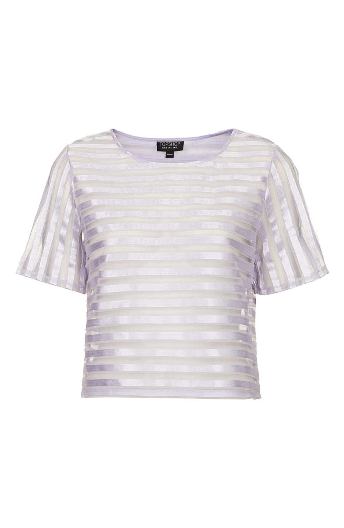 Alternate Image 3  - Topshop Stripe Mesh Appliqué Tee