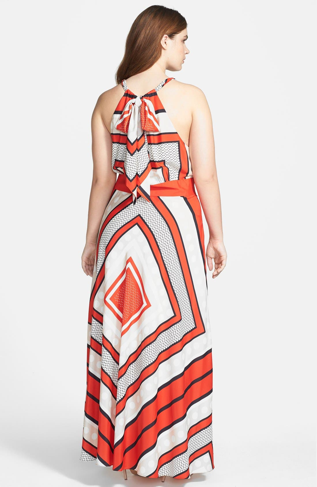 Alternate Image 2  - Eliza J Scarf Print Woven Maxi Dress (Plus Size)