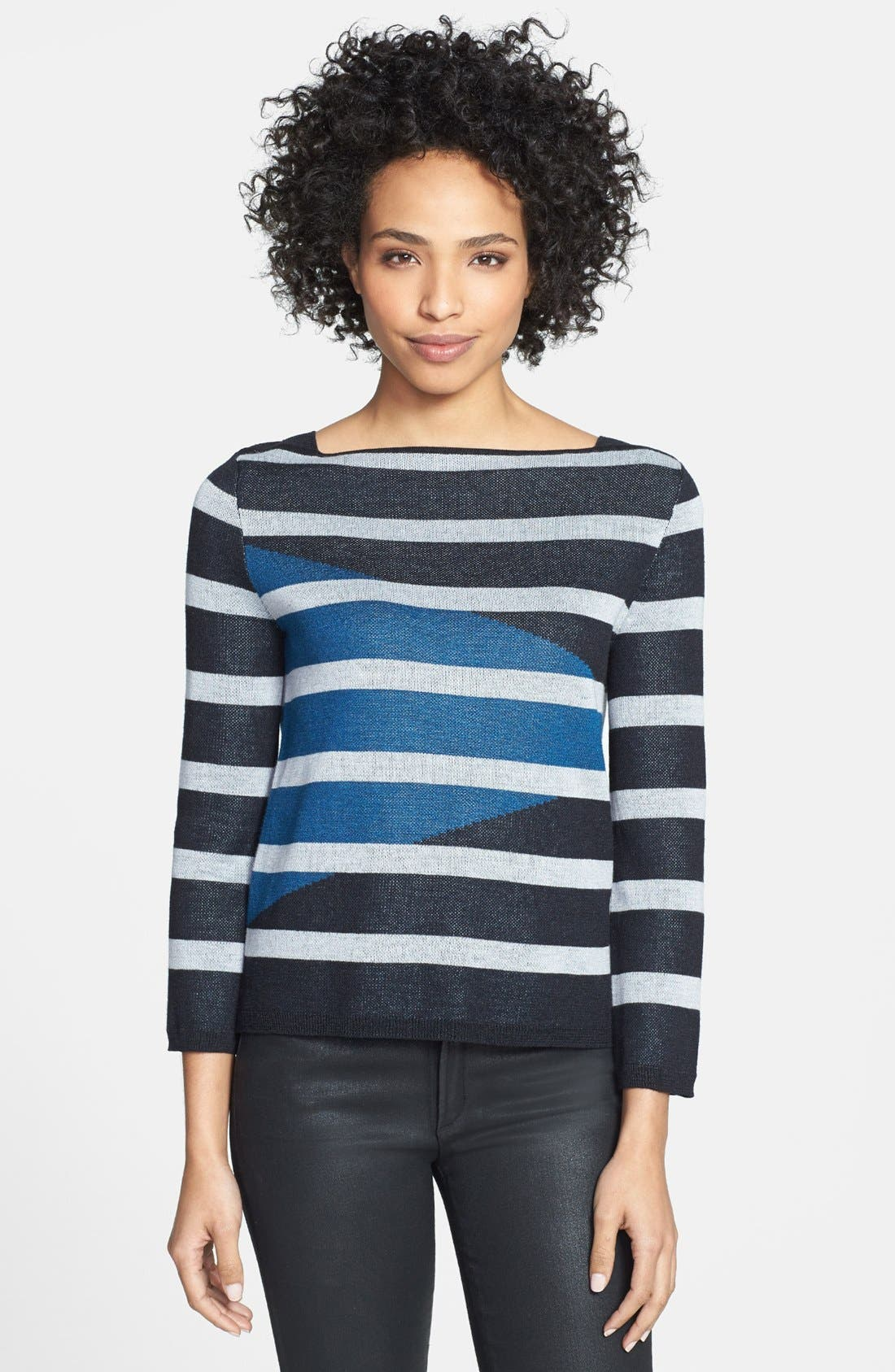Alternate Image 1 Selected - Adrianna Papell Intarsia Stripe Boatneck Sweater