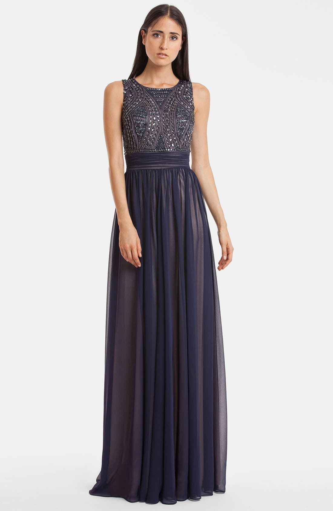Main Image - JS Collections Beaded Bodice Chiffon Gown