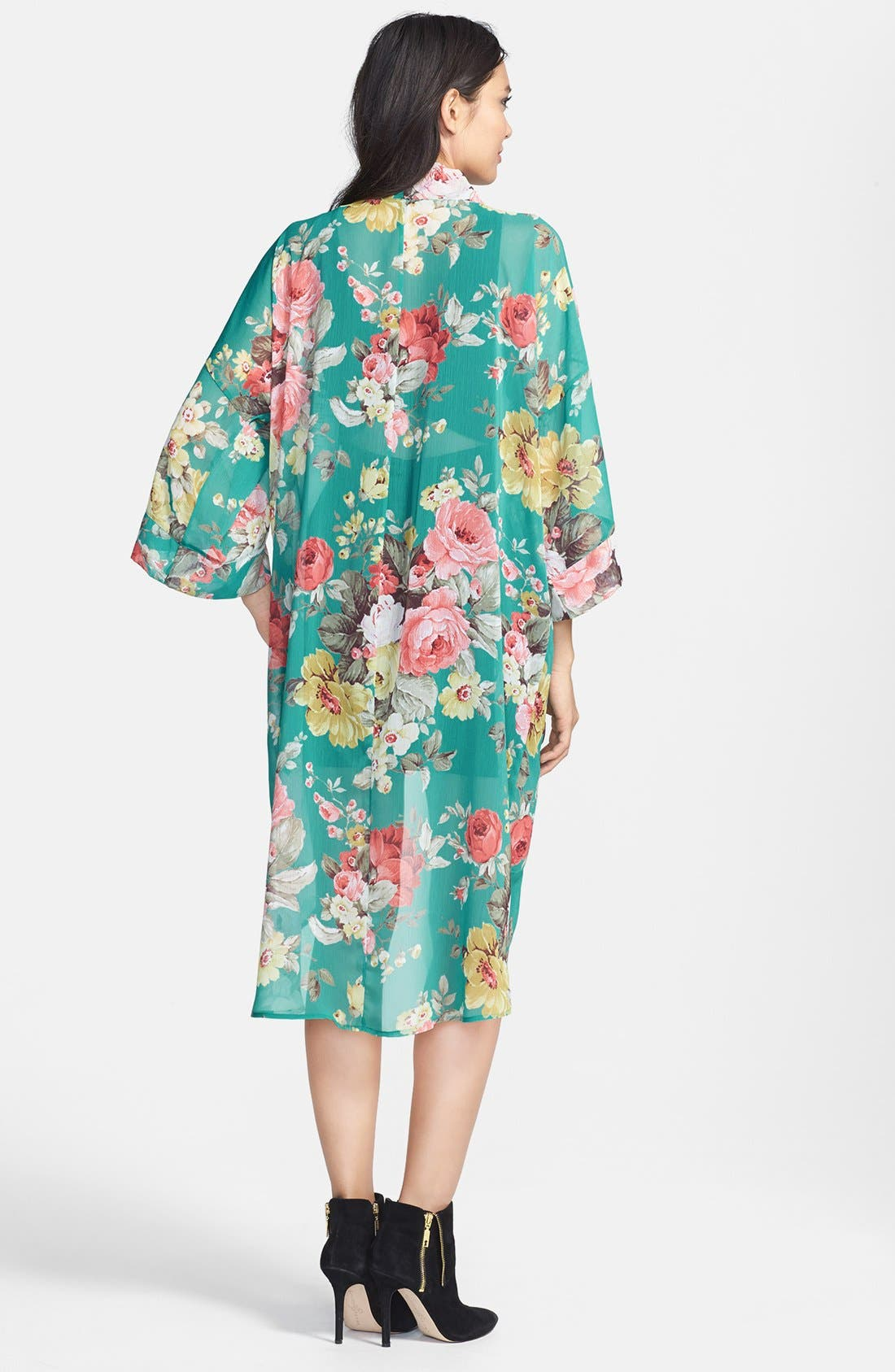 'Marie' Floral Chiffon Cardigan,                             Alternate thumbnail 2, color,                             Jade