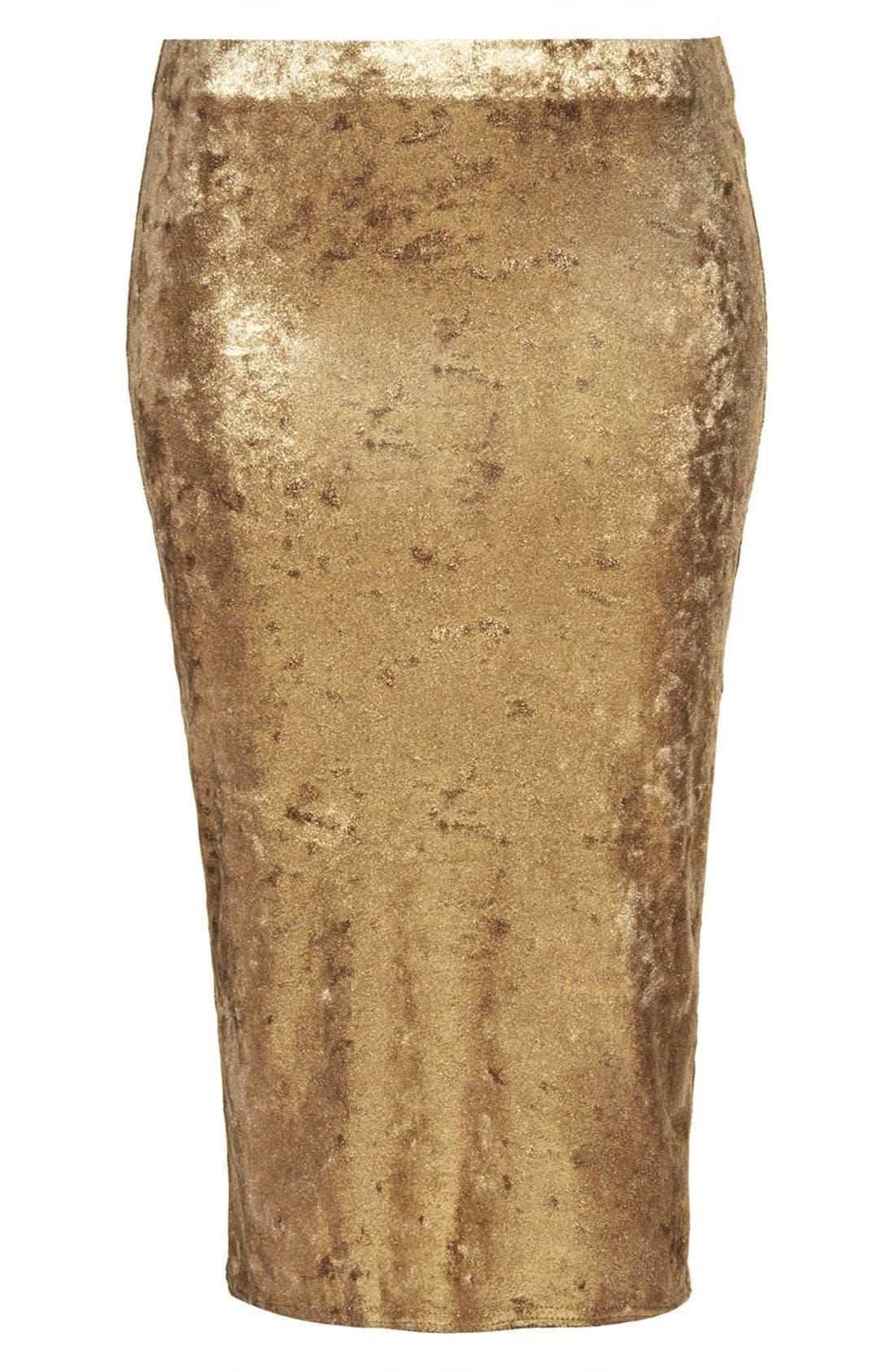 Alternate Image 3  - Topshop Metallic Foil Velvet Tube Skirt