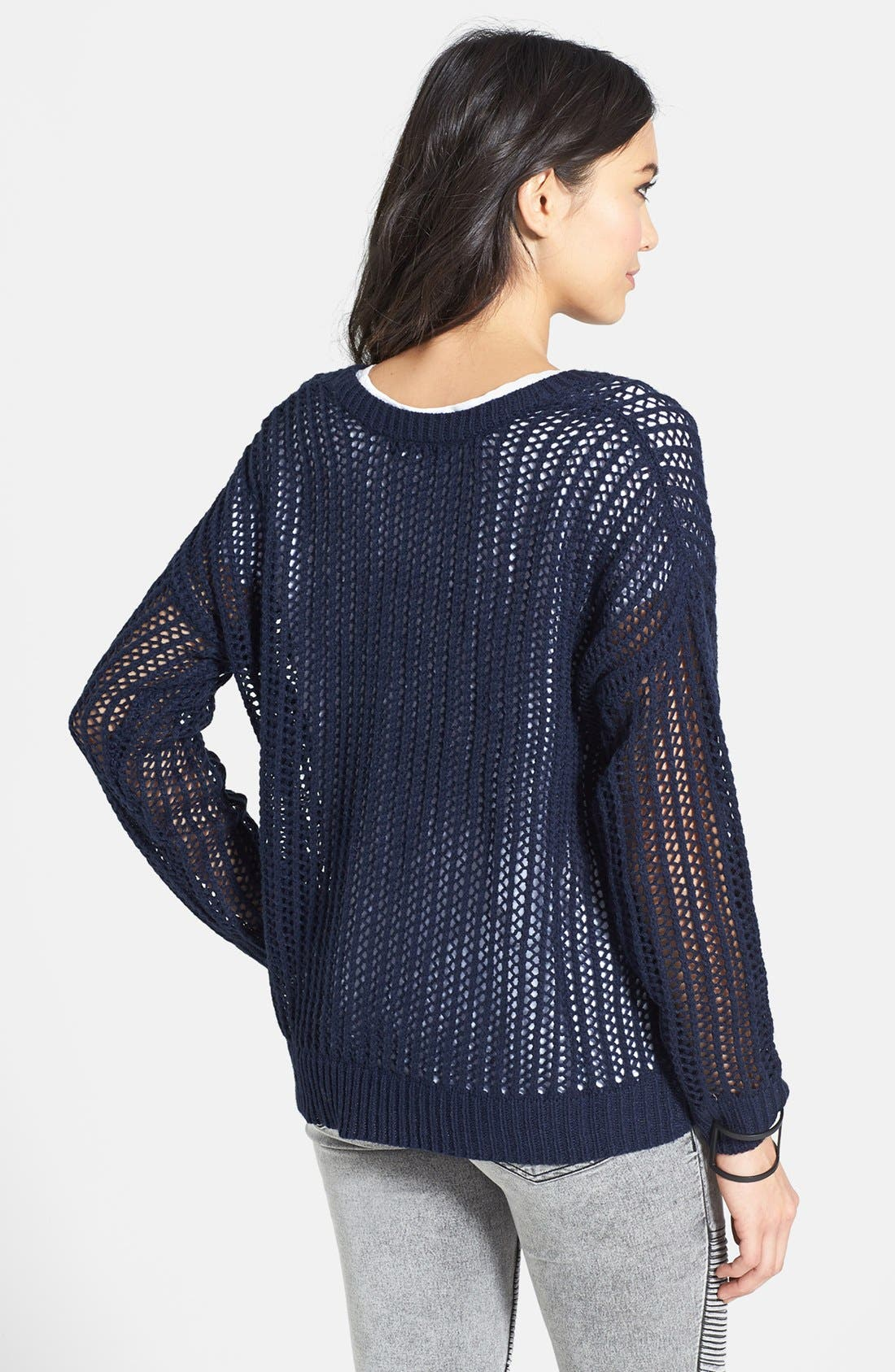 Alternate Image 2  - Uniq Open Knit Pullover