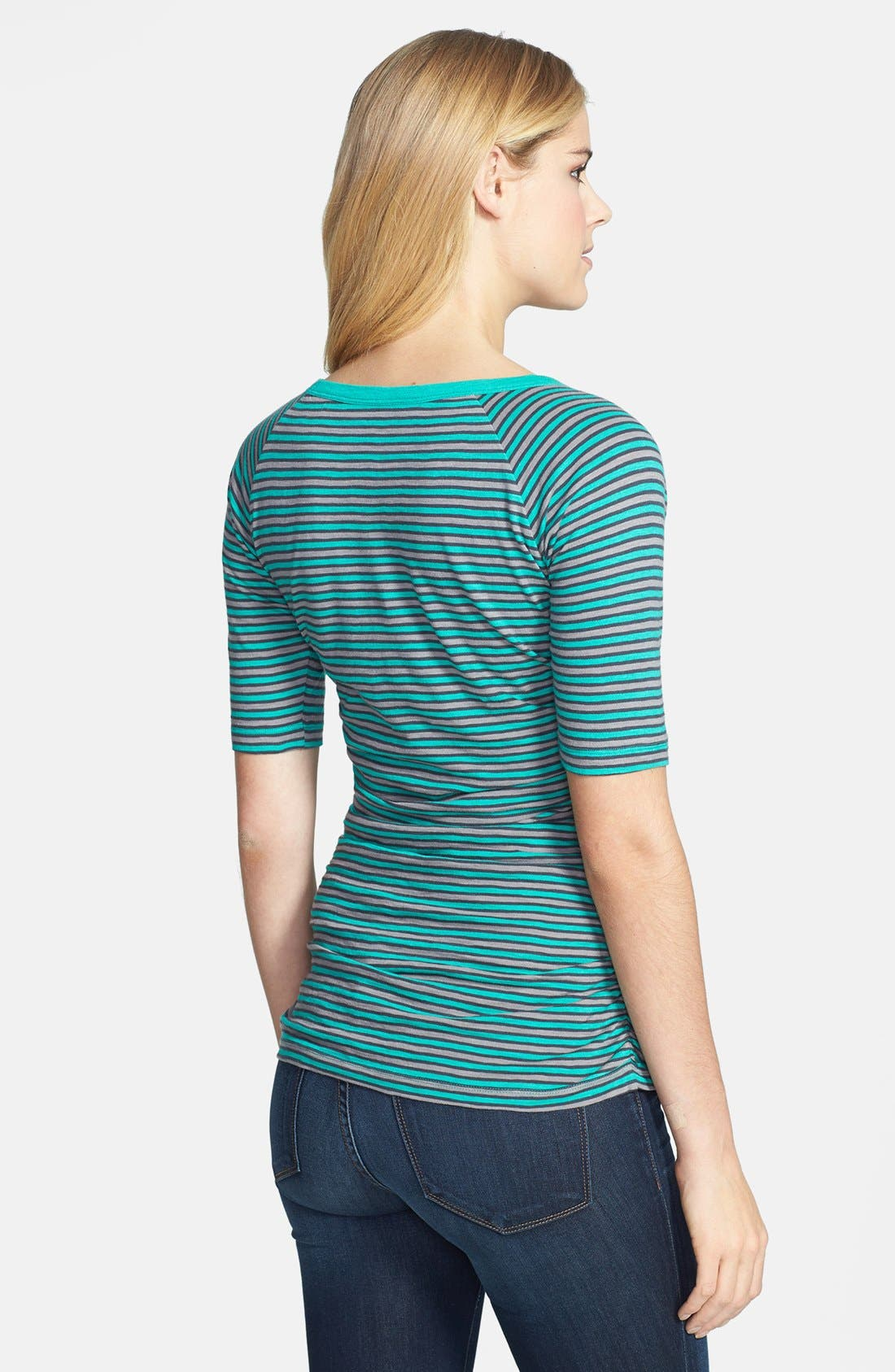 Alternate Image 2  - Caslon® Elbow Sleeve Side Ruched Tee (Petite)