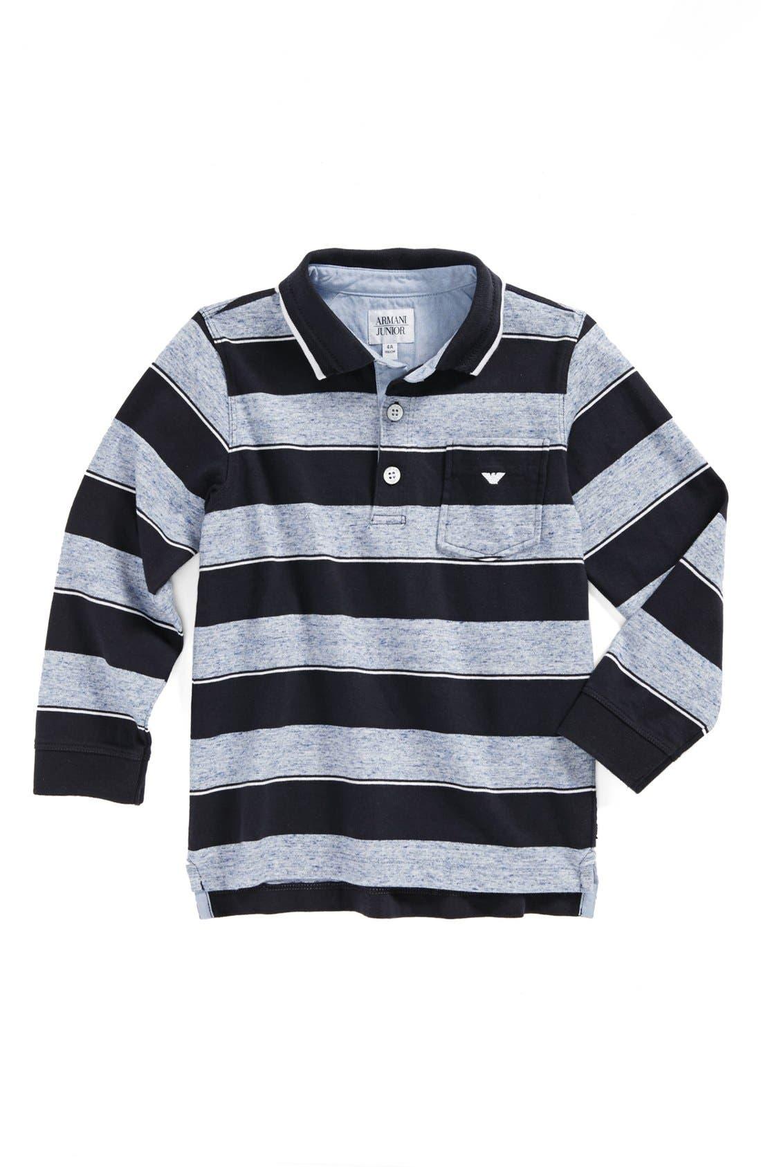 Main Image - Armani Junior Stripe Cotton Polo (Toddler Boys)