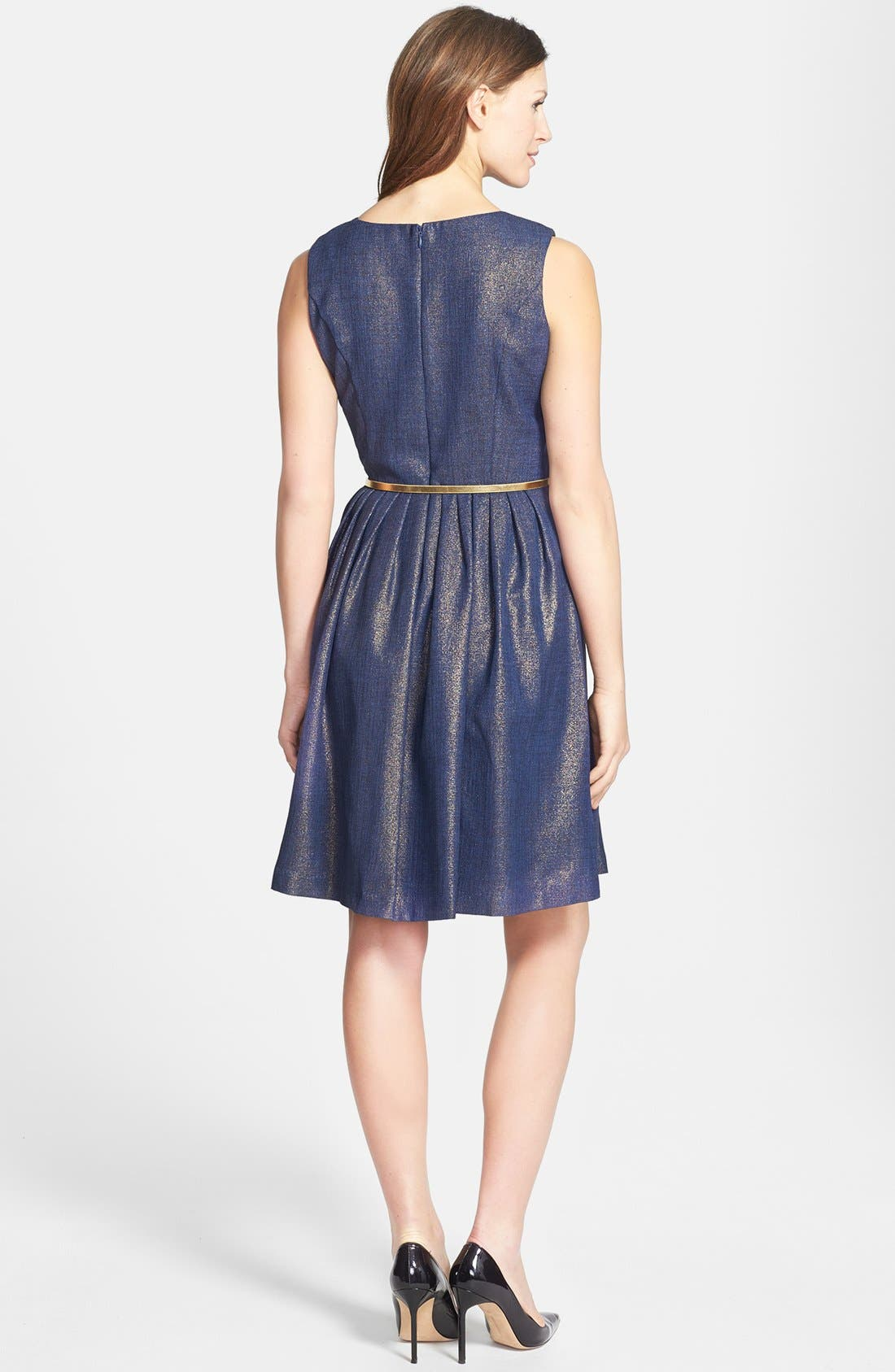 Alternate Image 3  - Ellen Tracy Metallic Sleeveless Dress (Regular & Petite)