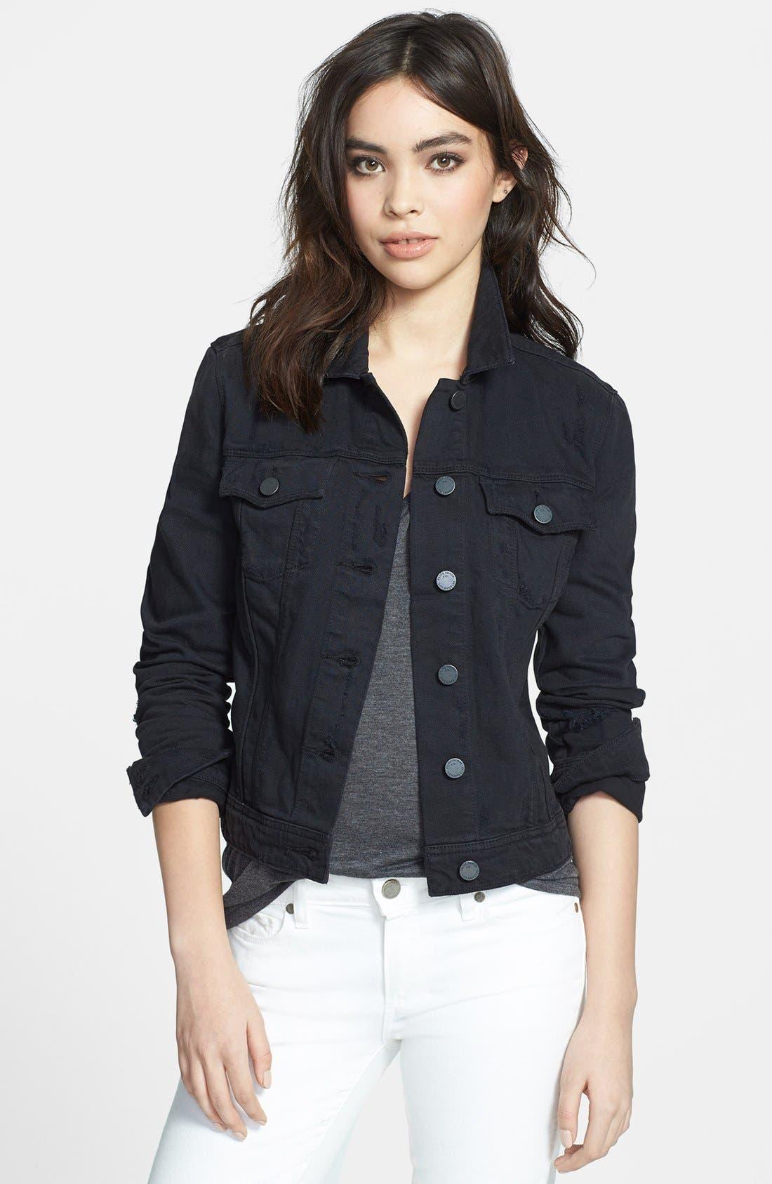 Alternate Image 1 Selected - Paige Denim 'Vermont' Distressed Denim Jacket (Vintage Black)
