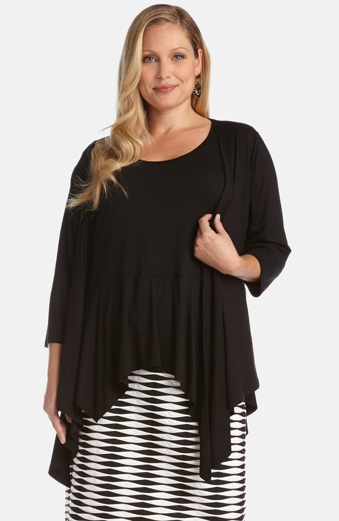 Alternate Image 1 Selected - Karen Kane Three Quarter Sleeve Drape Jacket (Plus Size)