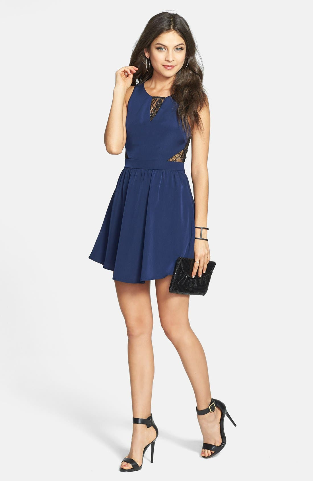 Lace Inset Skater Dress,                         Main,                         color, Navy/ Black