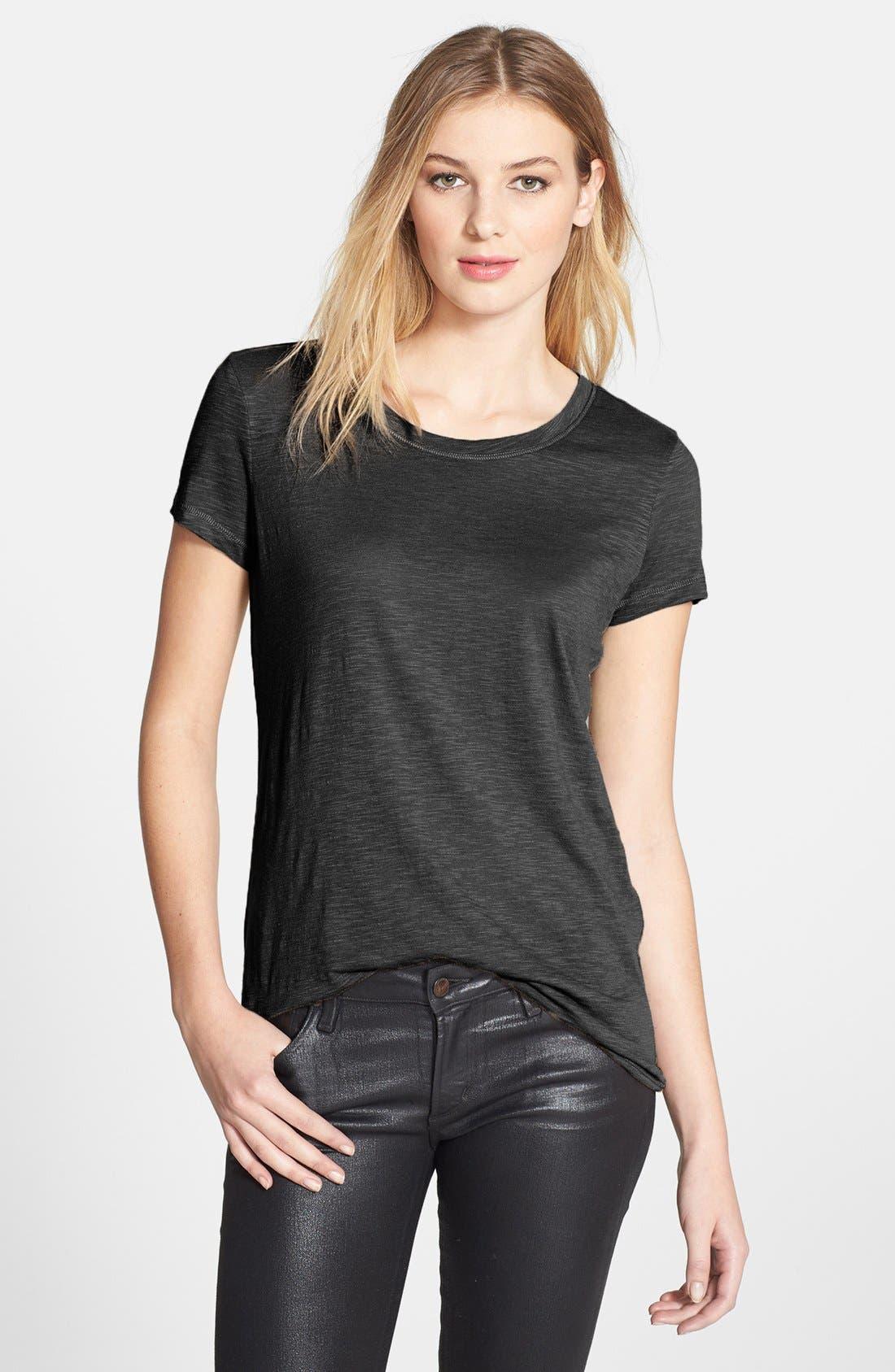 Short Sleeve Cotton & Modal Tee,                         Main,                         color, Black