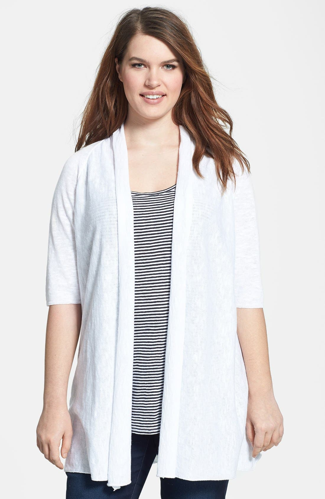 Main Image - Eileen Fisher Elbow Sleeve Linen & Cotton Cardigan (Plus Size)