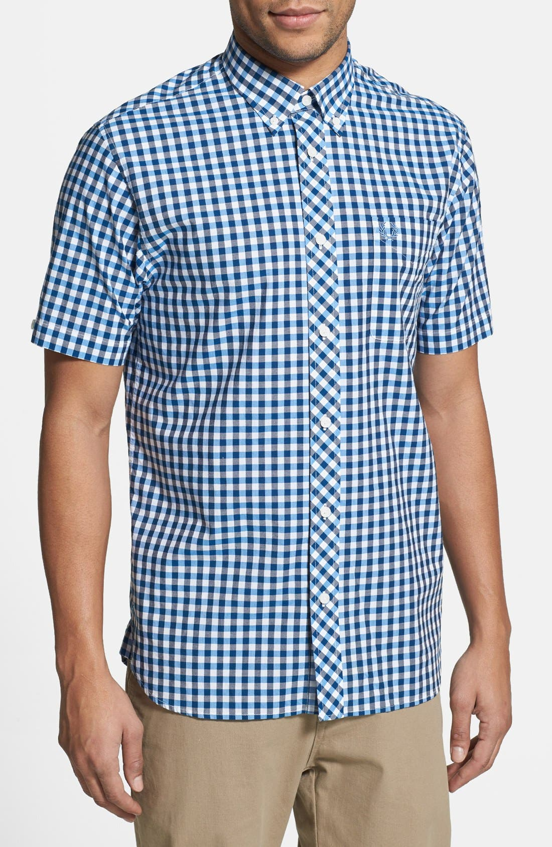Alternate Image 1 Selected - Fred Perry Tricolor Gingham Short Sleeve Sport Shirt