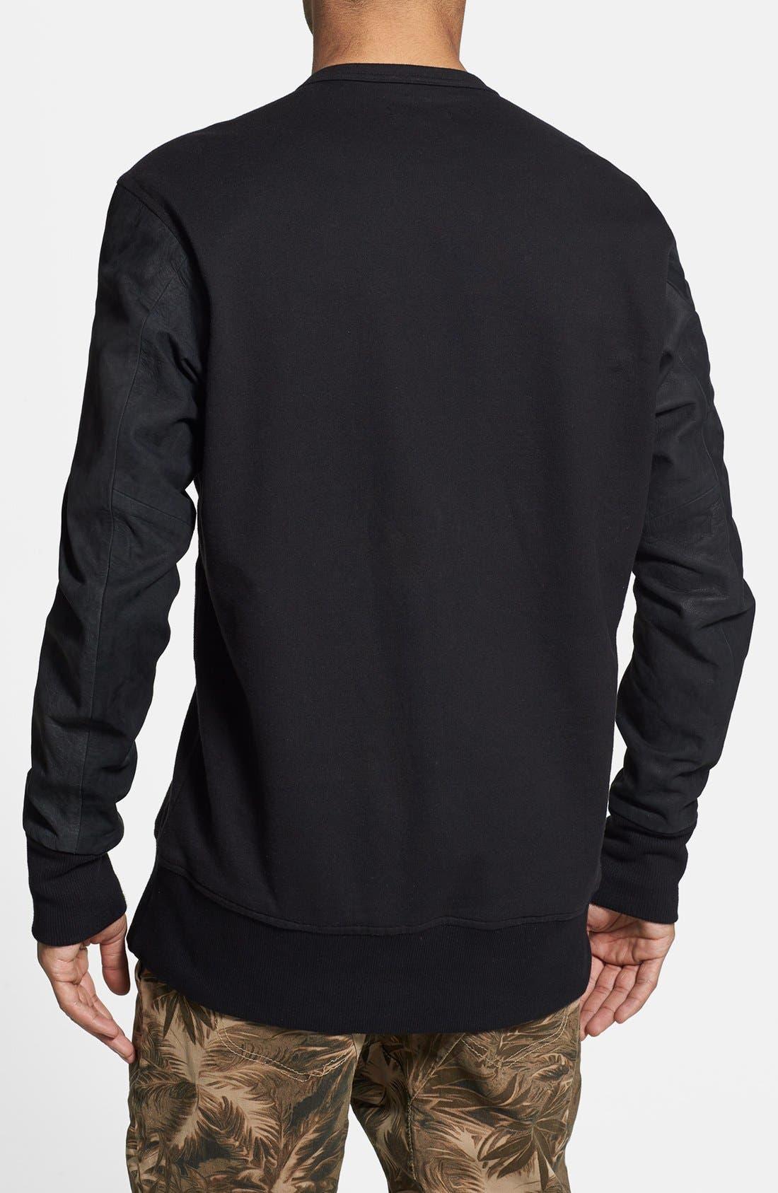 Alternate Image 2  - ZANEROBE 'Primal' Crewneck Sweatshirt with Suede Sleeves