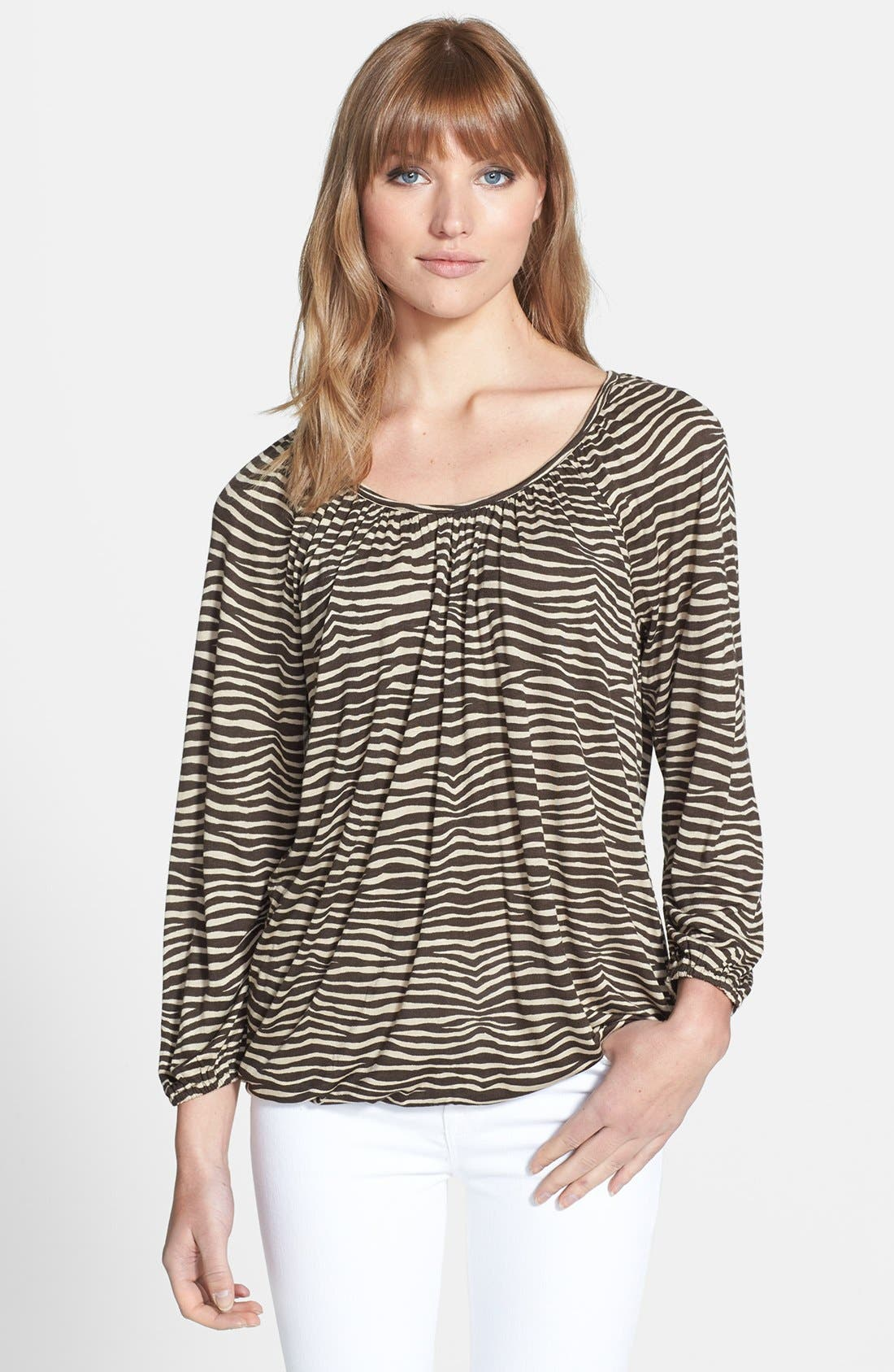 Main Image - MICHAEL Michael Kors Print Three Quarter Sleeve Peasant Top
