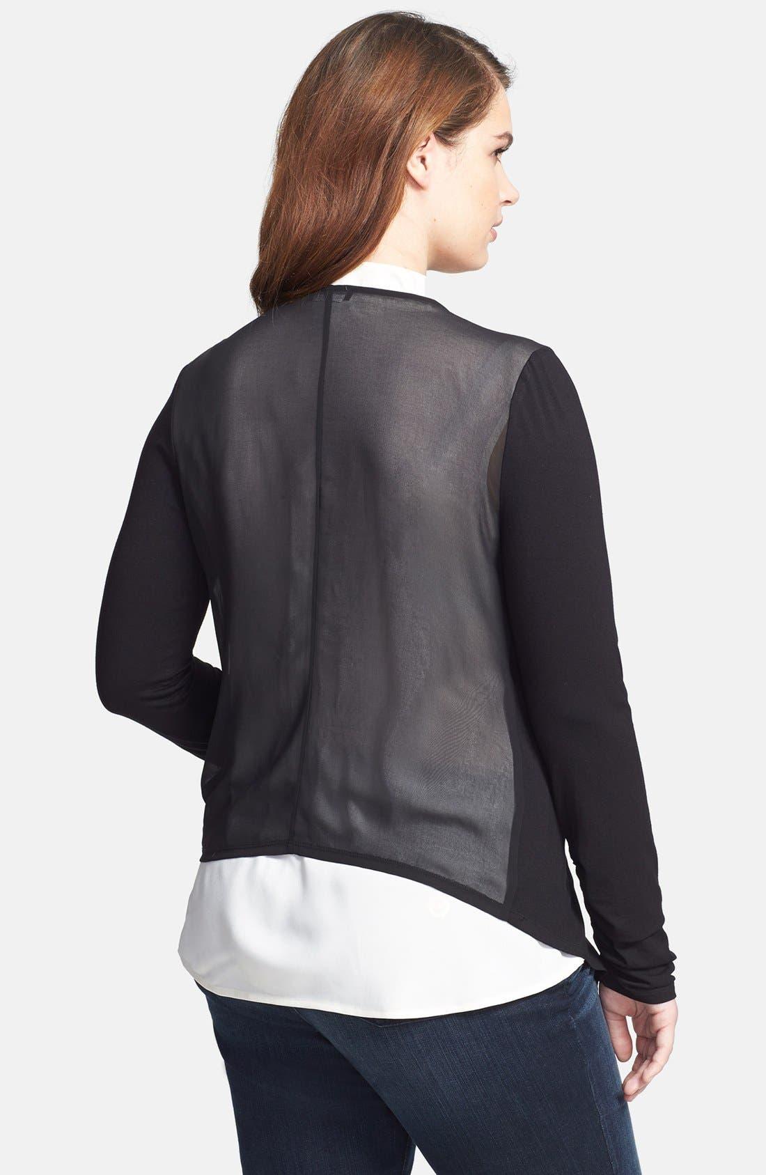 Alternate Image 2  - Vince Camuto Sheer Back Drape Front Cardigan (Plus Size)
