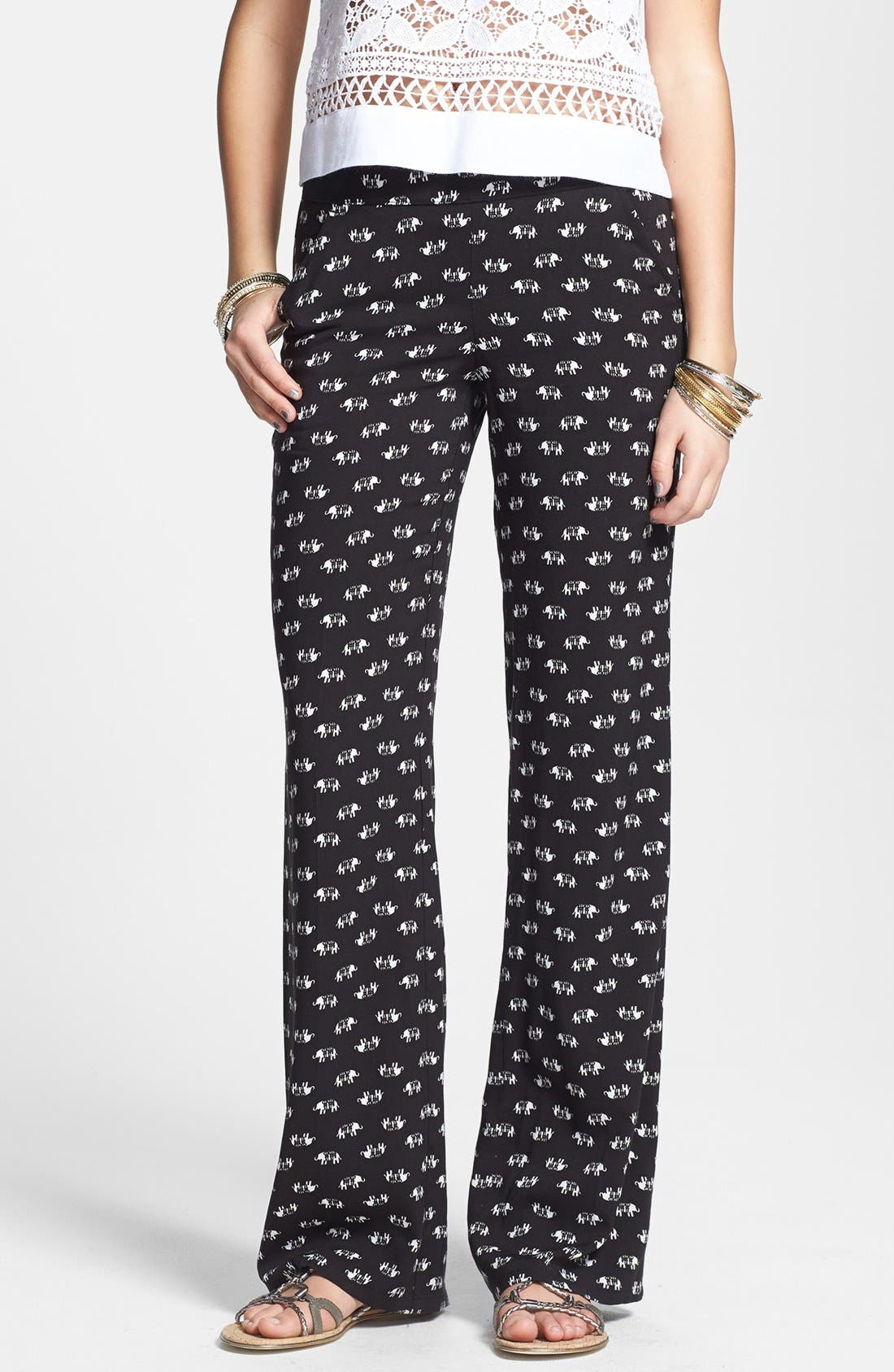 Main Image - Jolt Print Palazzo Pants (Juniors) (Online Only)