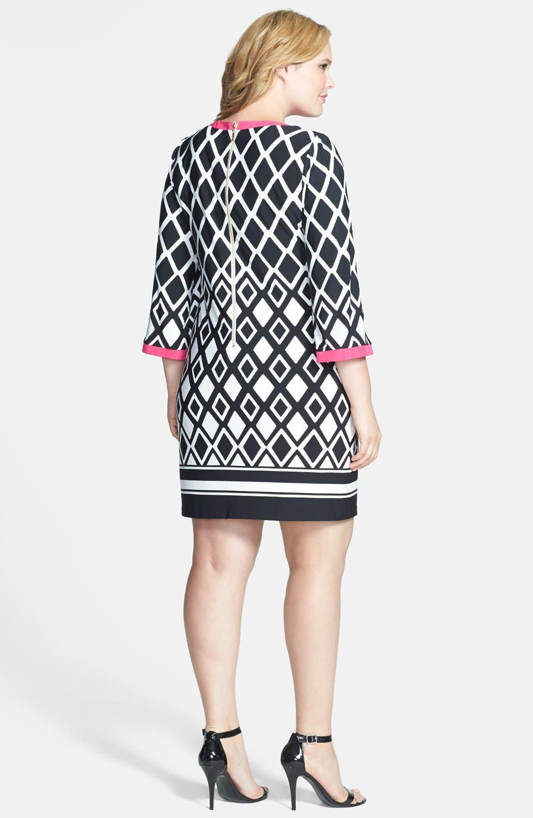 Alternate Image 2  - Eliza J Print Jersey Shirtdress (Plus Size)