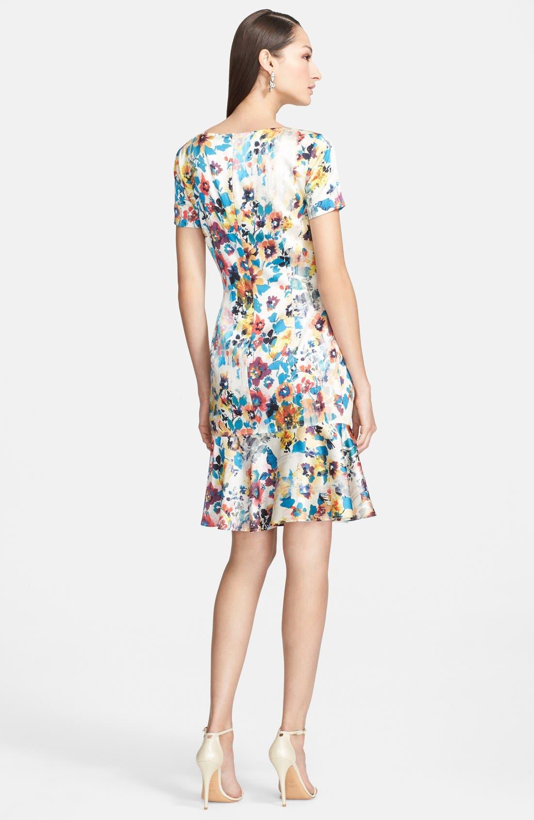 Alternate Image 2  - St. John Collection Pansy Print Stretch Silk Charmeuse Dress