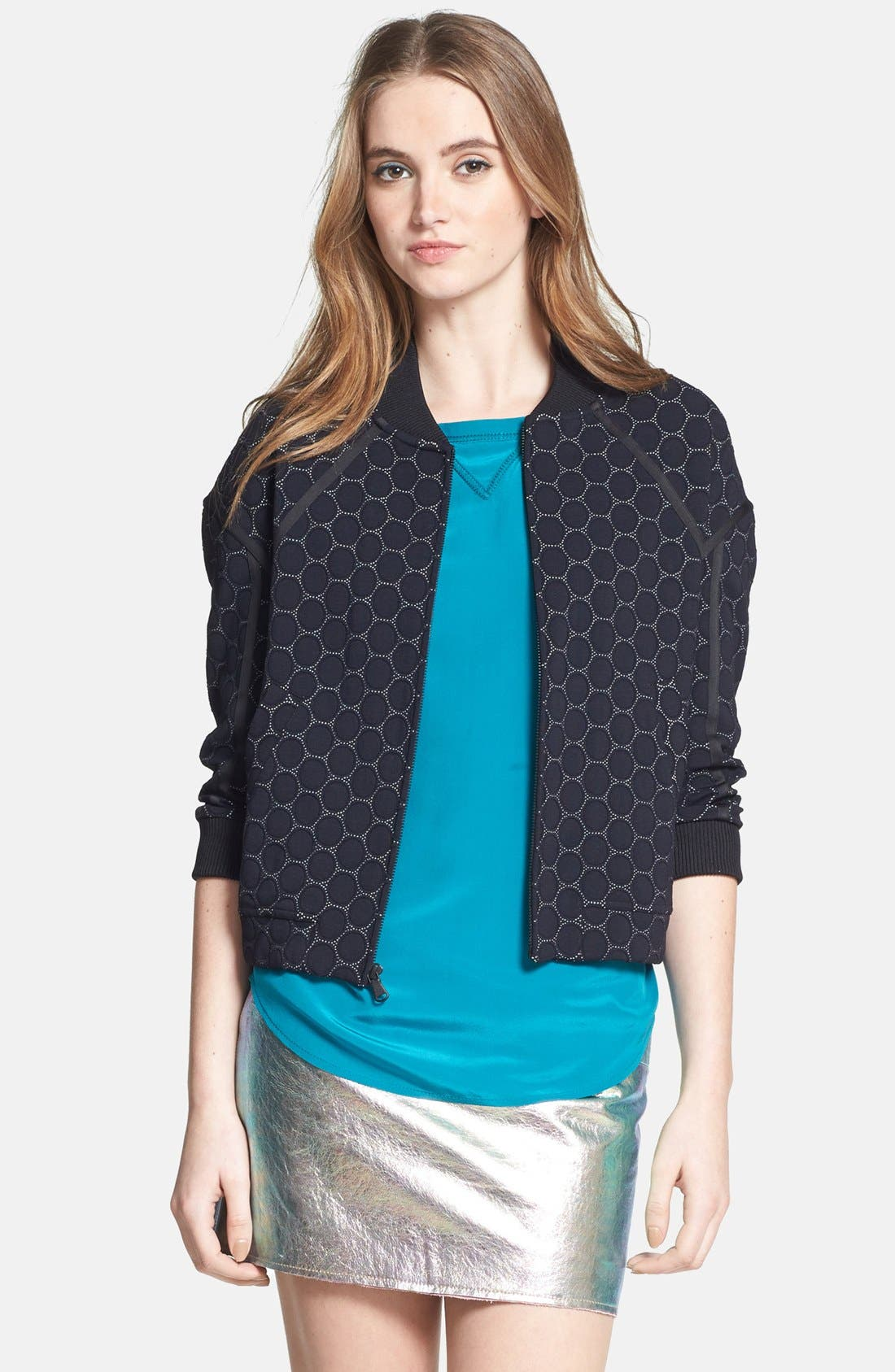 Main Image - MARC BY MARC JACOBS 'Leyna Dotty' Ponte Bomber Jacket