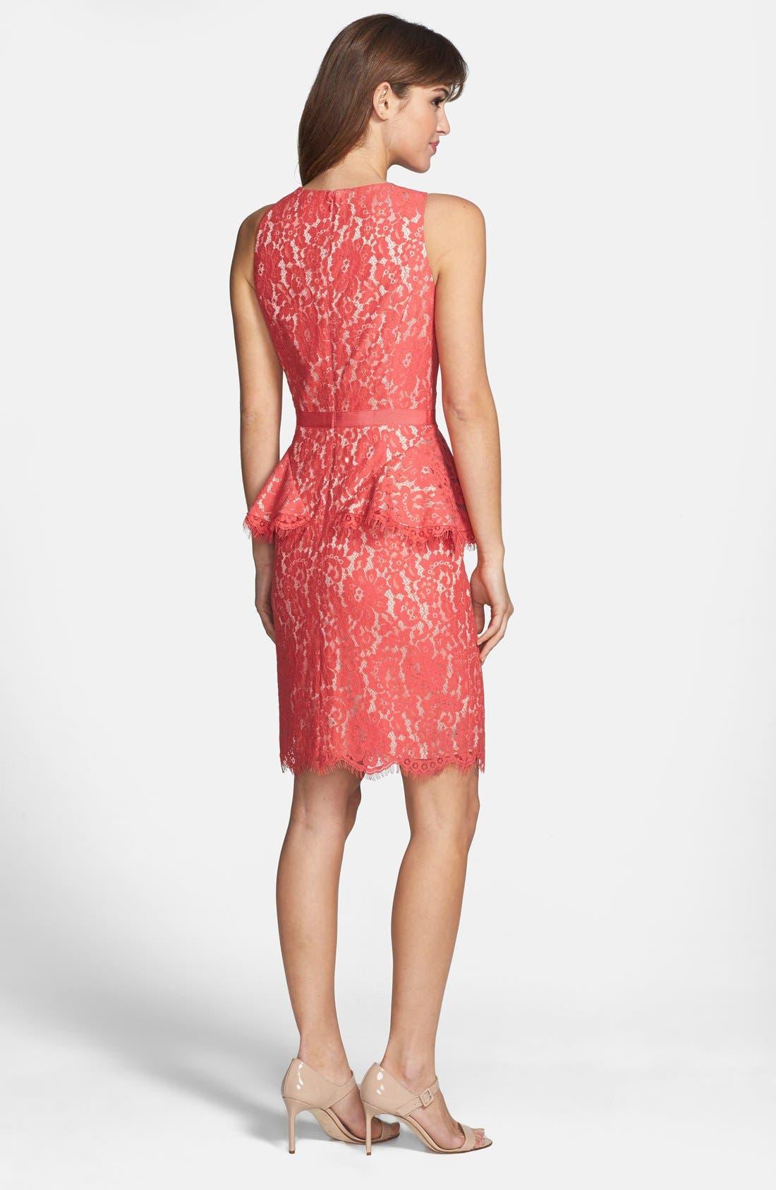 Alternate Image 2  - Eliza J Lace Peplum Sheath Dress (Regular & Petite)