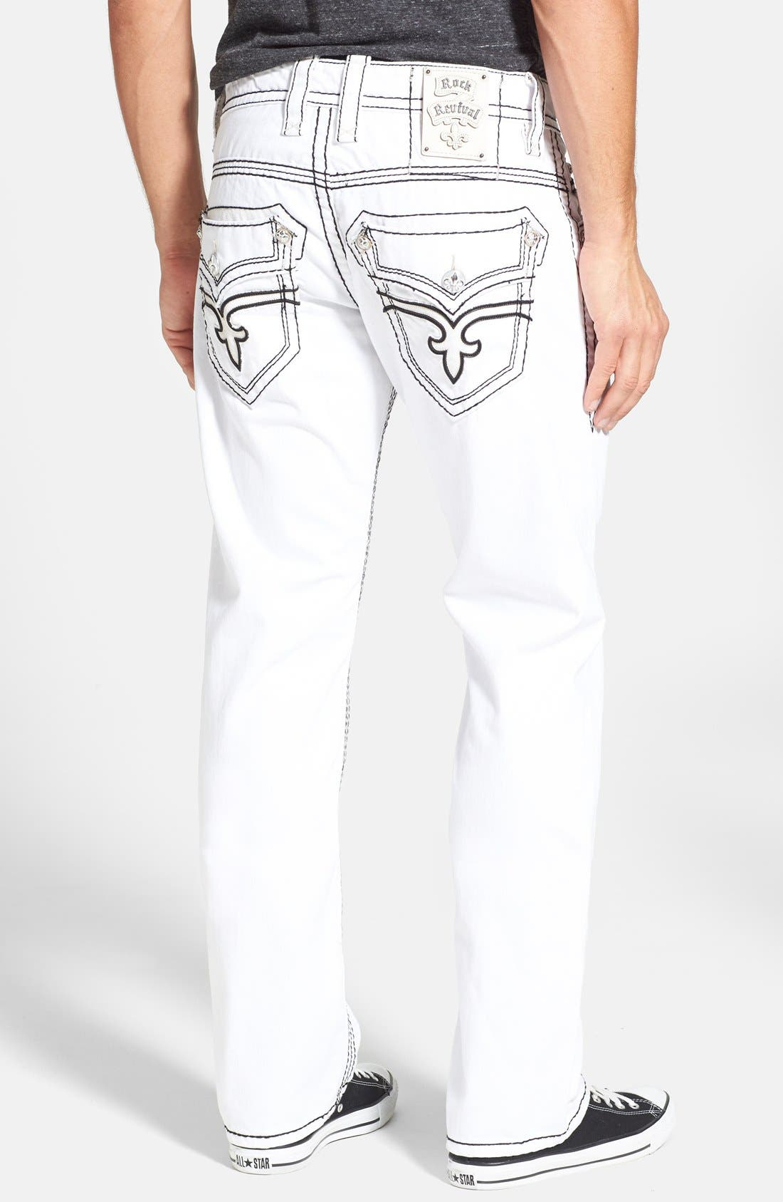 Main Image - Rock Revival 'Dan' Straight Leg Jeans (White)