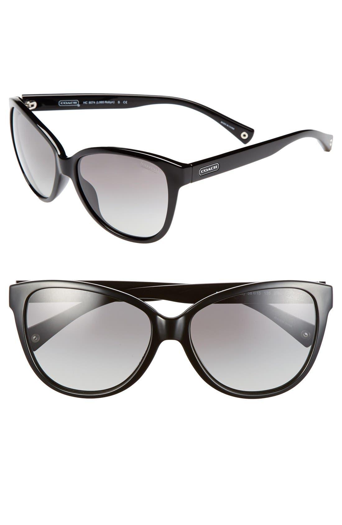 Alternate Image 1 Selected - COACH 58mm Cat Eye Sunglasses