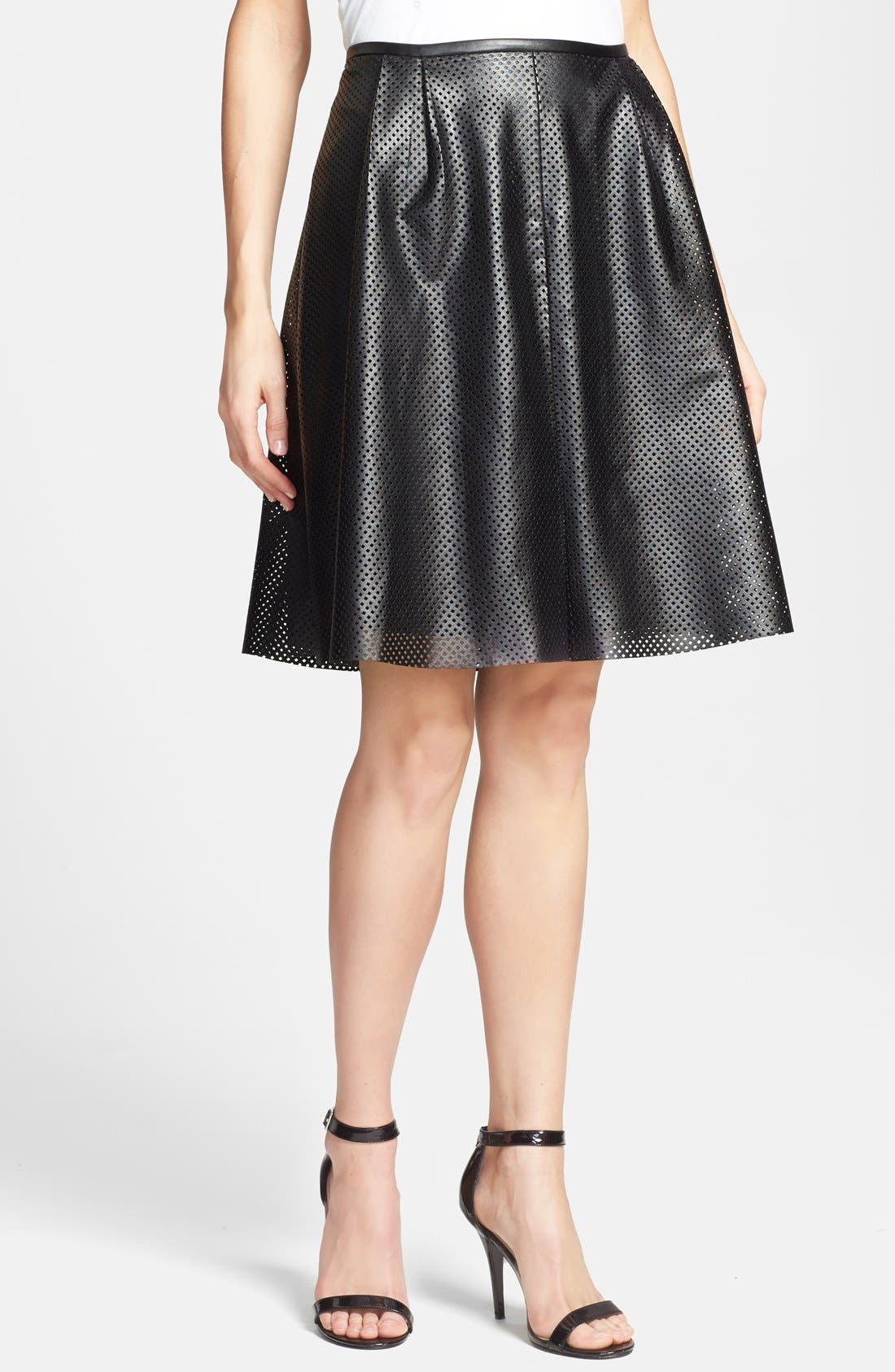Alternate Image 1 Selected - Calvin Klein Perforated Faux Leather Skirt