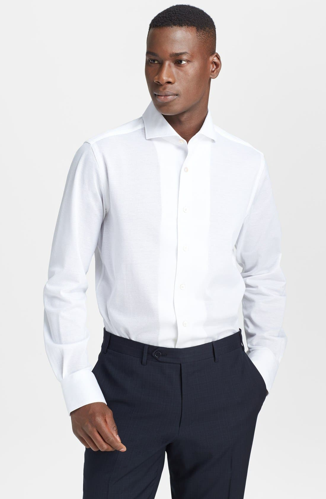 Main Image - Canali Cotton & Linen Knit Italian Sport Shirt
