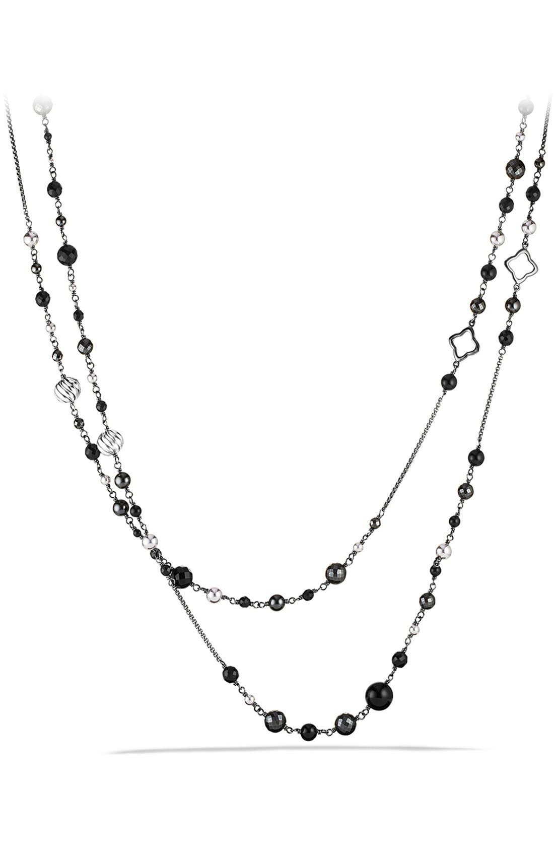 'DY Elements' Chain Necklace with Black Onyx and Hematine,                             Main thumbnail 1, color,                             Black Onyx