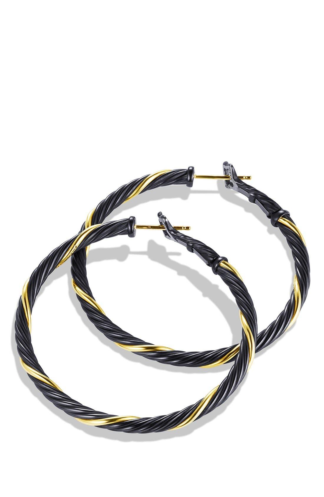 Alternate Image 2  - David Yurman 'Black and Gold' Small Hoop Earrings