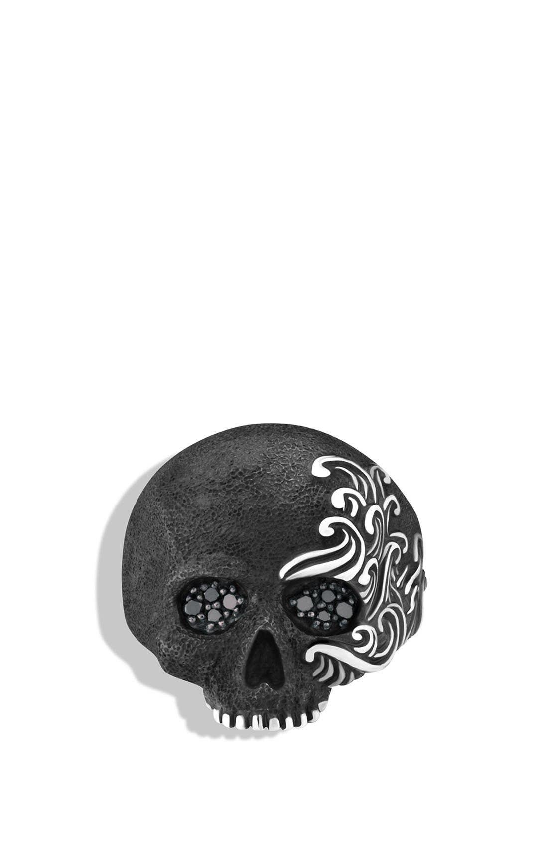 'Waves' Large Skull Ring with Black Diamonds,                             Alternate thumbnail 3, color,                             Black Diamond