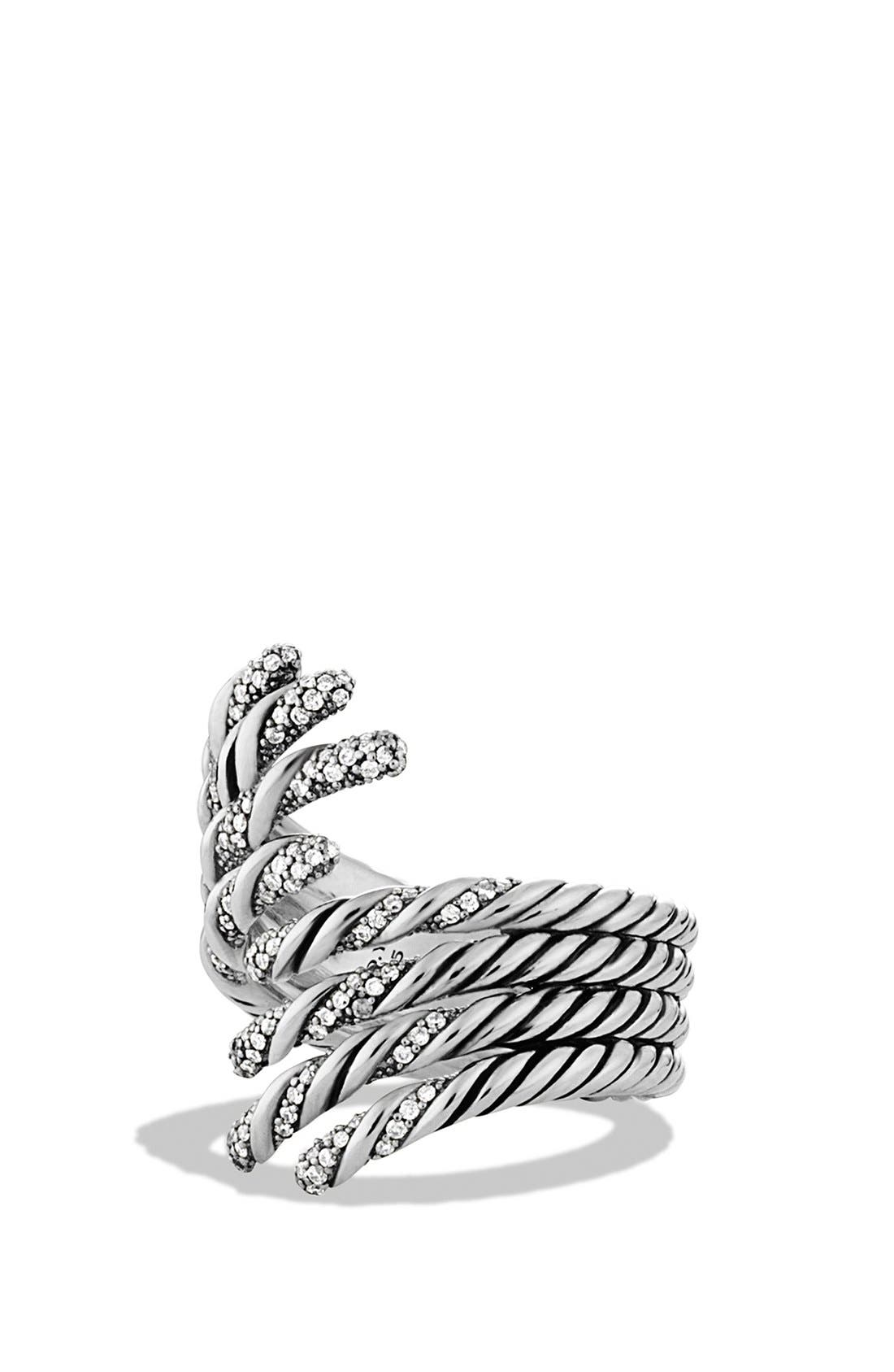'Willow' Open Four-Row Ring with Diamonds,                         Main,                         color, Diamond