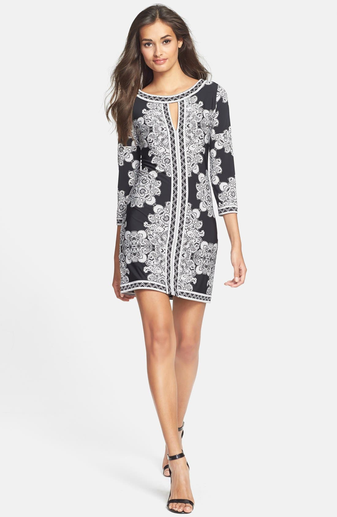 Alternate Image 3  - BCBGMAXAZRIA Placed Print Jersey Shift Dress