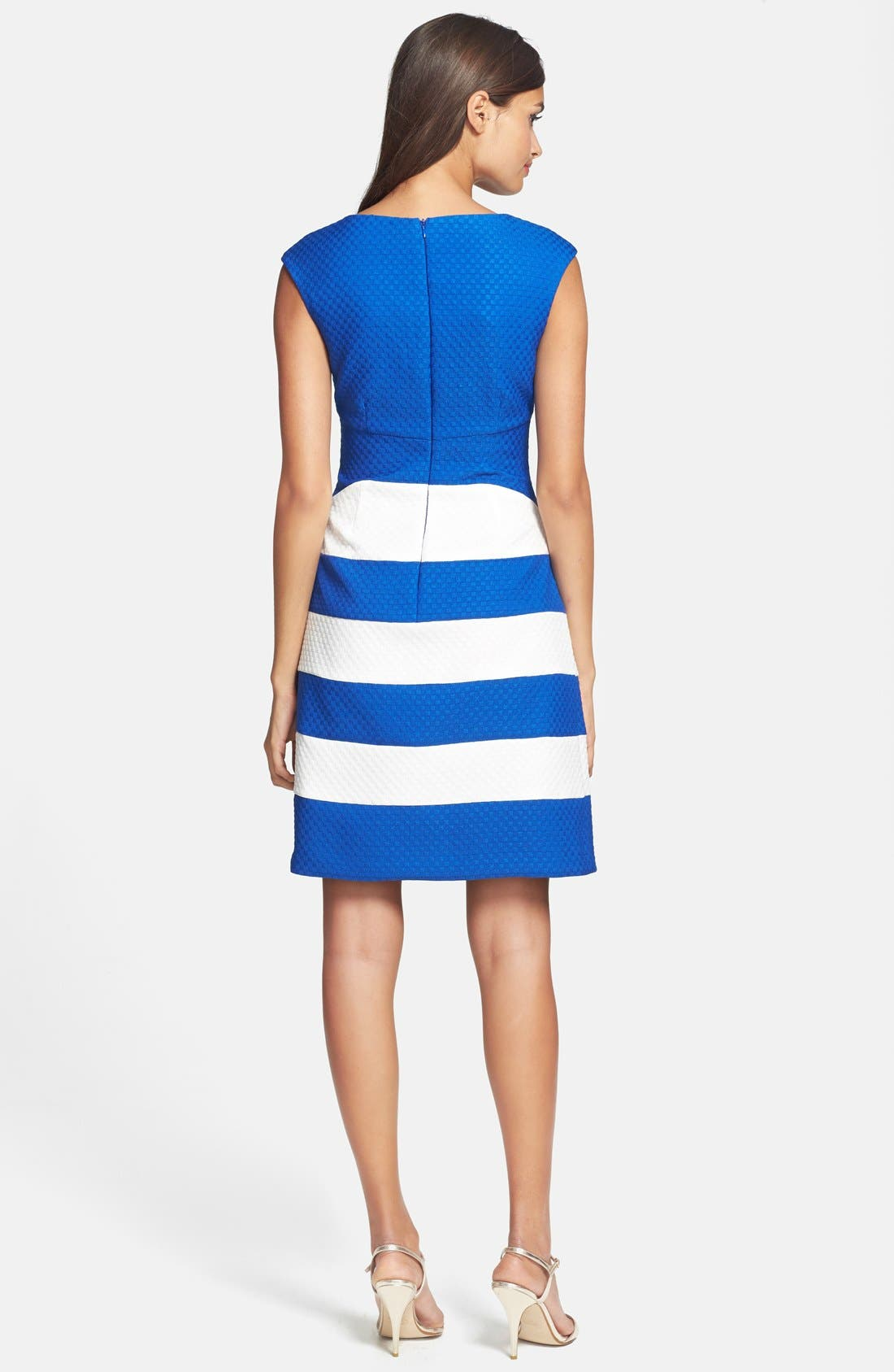 Alternate Image 2  - Gabby Skye Ruched Colorblock Knit Fit & Flare Dress
