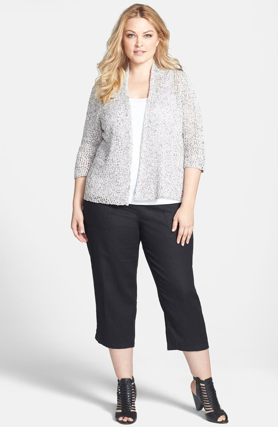 Alternate Image 4  - Eileen Fisher Open Weave Cardigan (Plus Size)